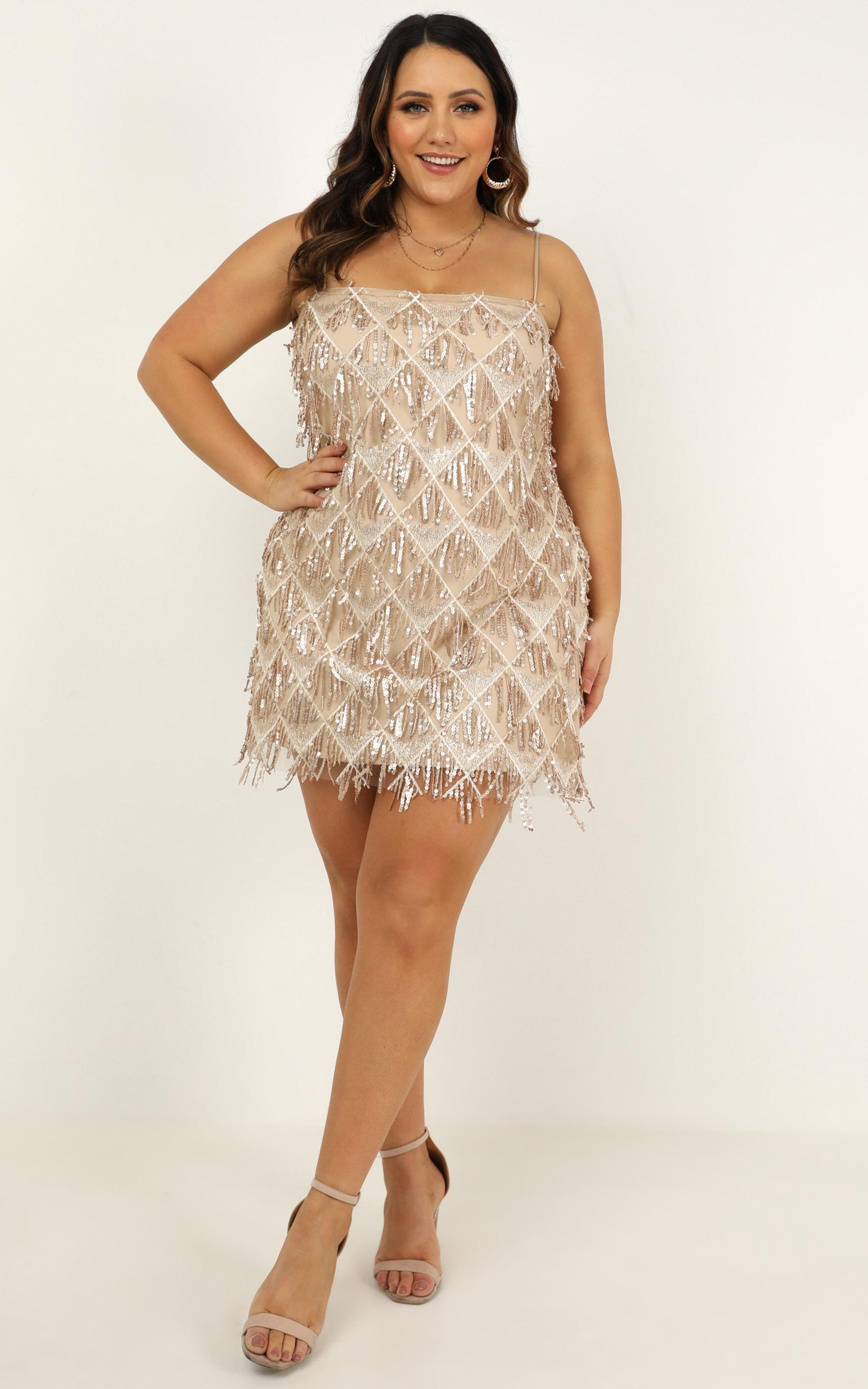 Shook dress in champagne sequin - 20 (XXXXL), Beige, hi-res image number null