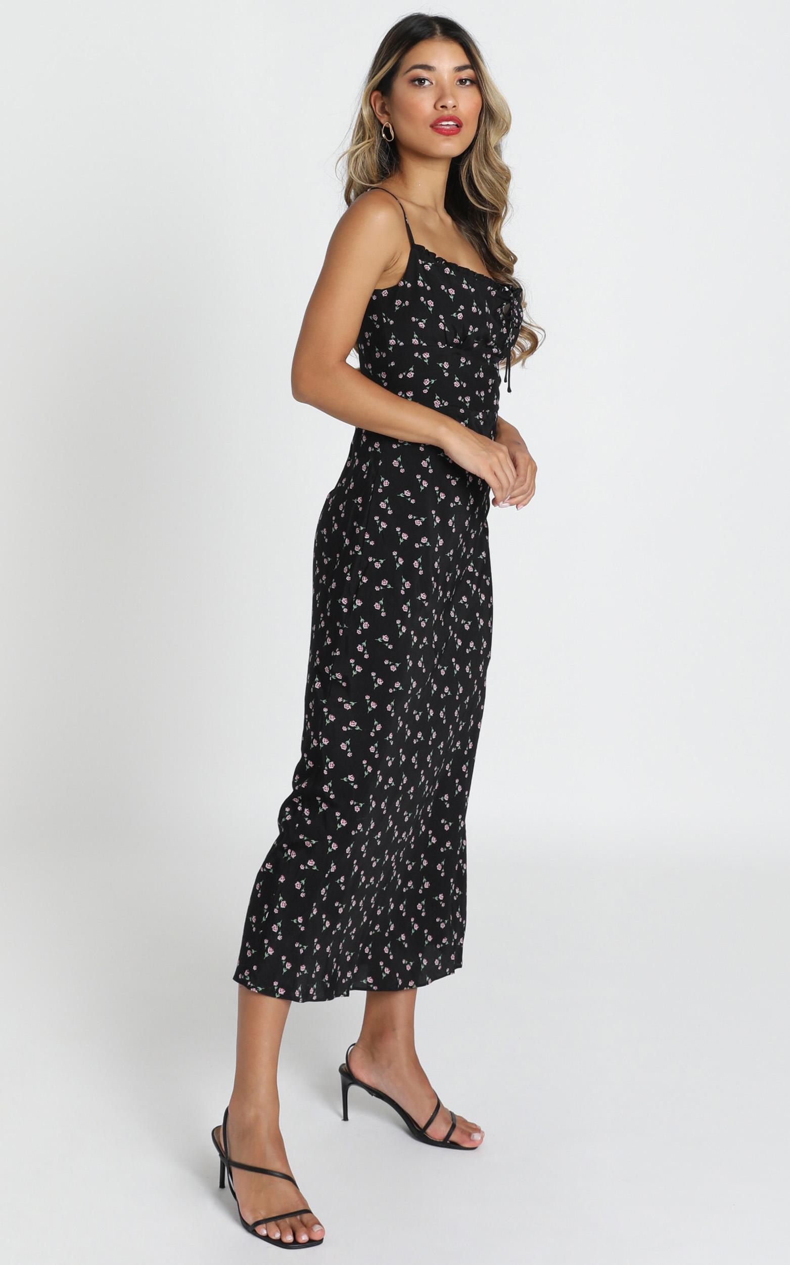 Imani Midi  Dress in black floral - 12 (L), Black, hi-res image number null