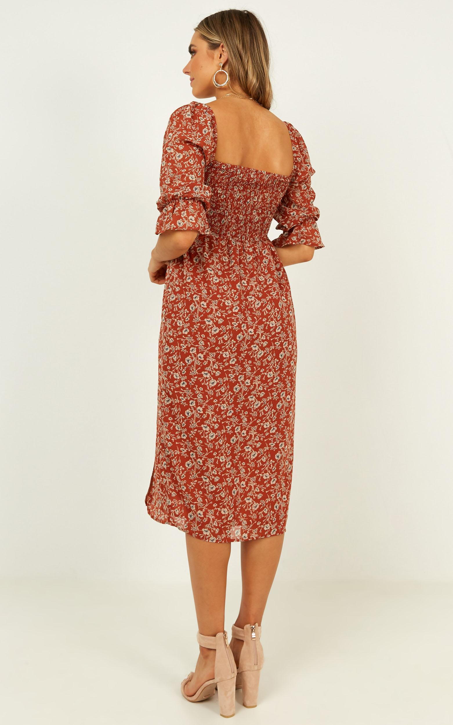 Silence Dress in rust floral - 20 (XXXXL), Rust, hi-res image number null