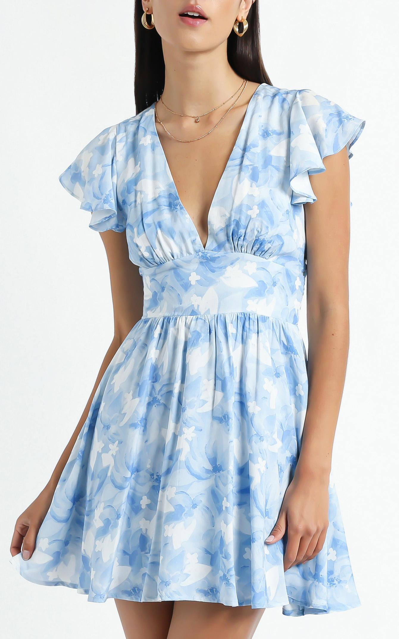 Dia Dress in Cloudy Floral - 6 (XS), Blue, hi-res image number null