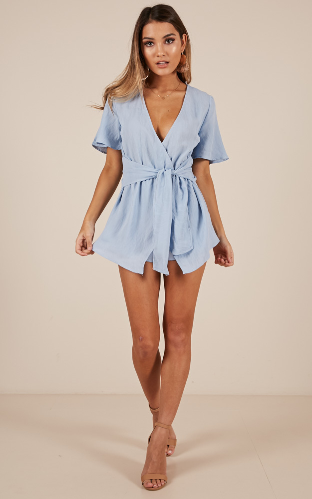 Sugar Coated Playsuit in blue linen look - 14 (XL), Blue, hi-res image number null