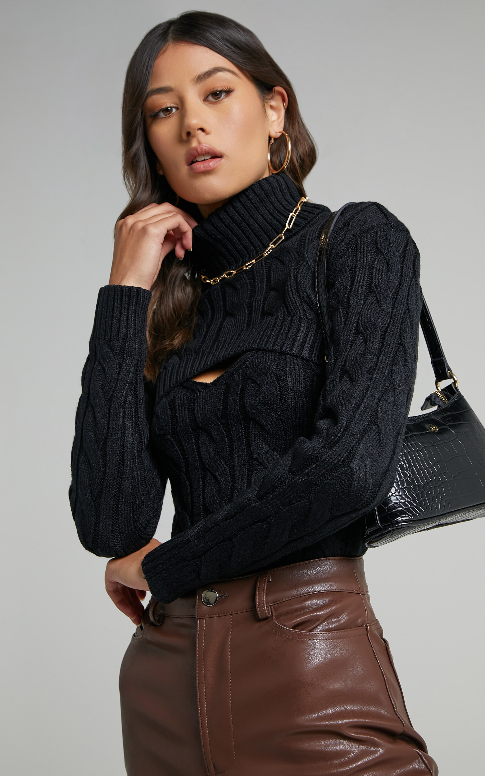 Leillia Cutout Cable Knit Top in Black - 06, BLK1, hi-res image number null