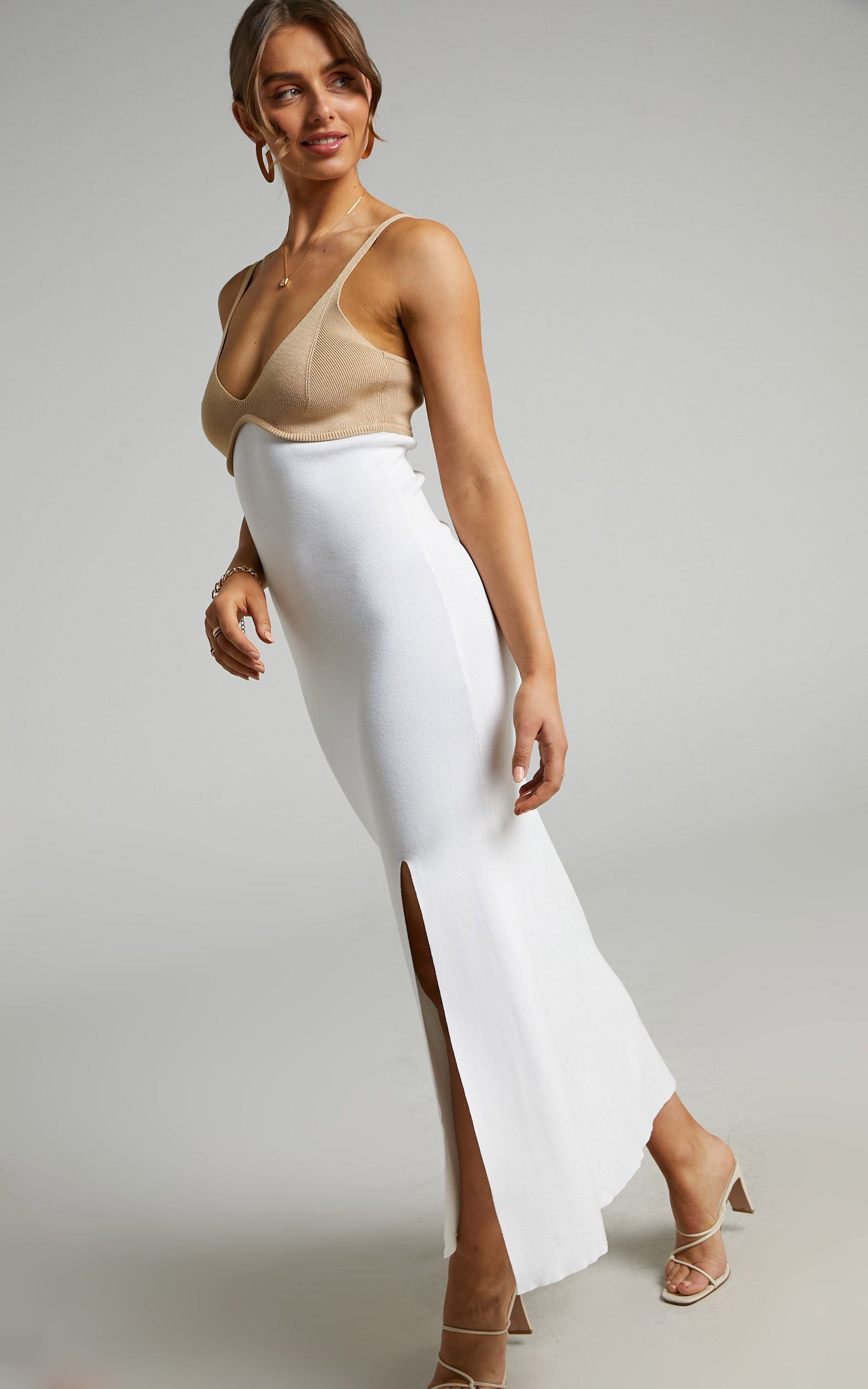 Claire Dual Tone Knit Dress in White & Beige - 06, WHT1, hi-res image number null