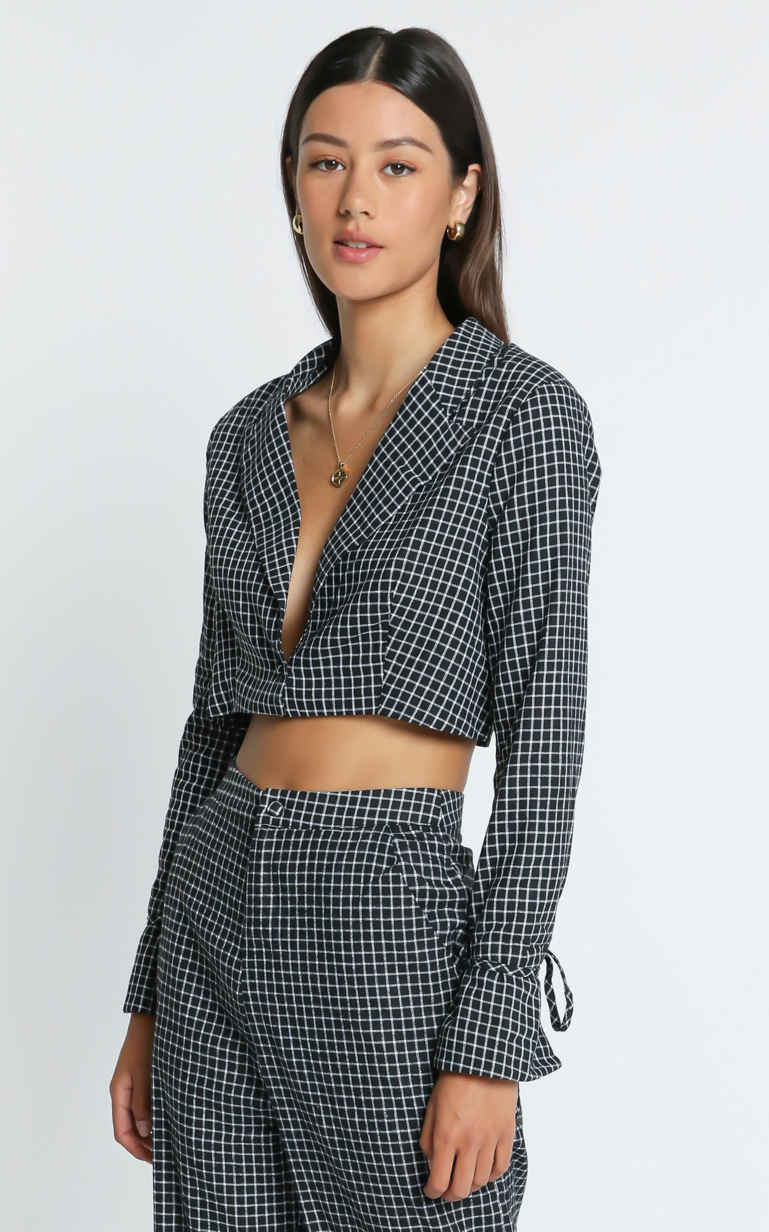 Maude  Blazer in  Black Check - 6 (XS), BLK1, hi-res image number null
