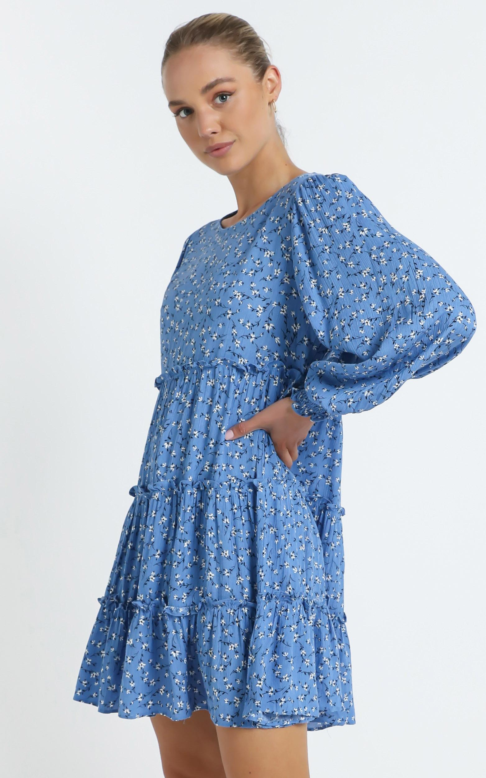Meera Dress in Blue Floral - 14 (XL), Blue, hi-res image number null