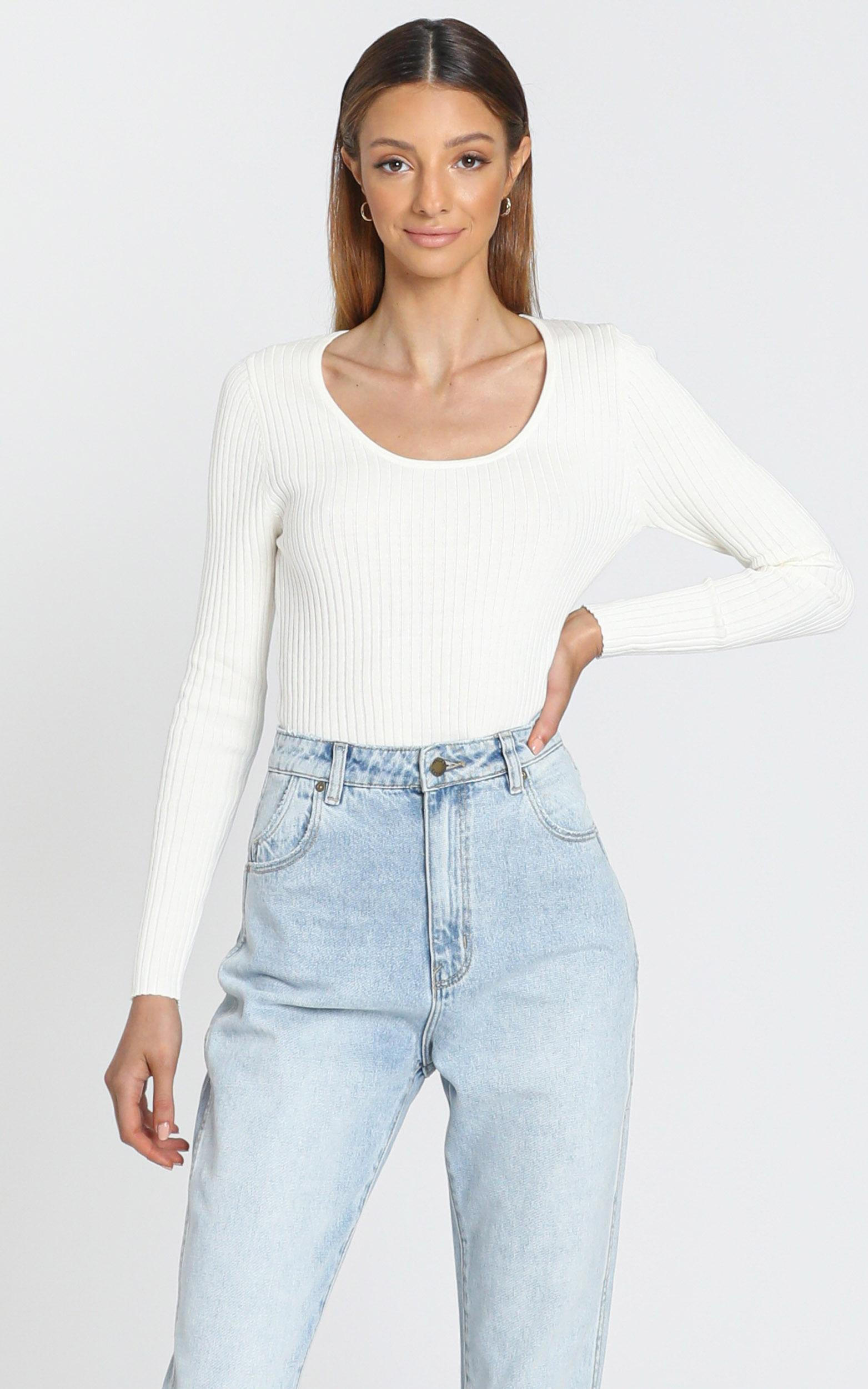 Rollas - Classic Rib Top Off in White - 6 (XS), White, hi-res image number null