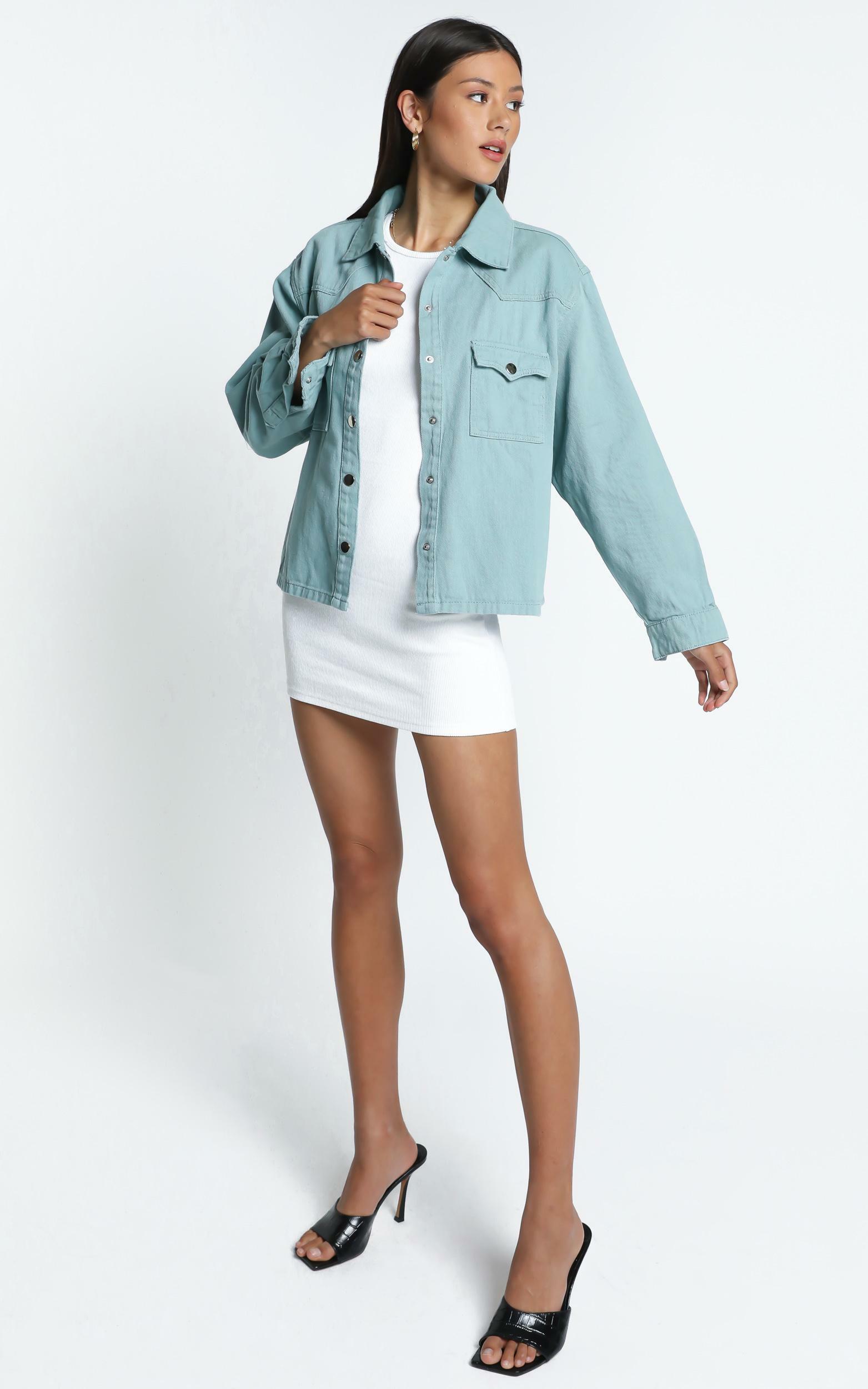 Alyssandra Denim Jacket in Sage - 14 (XL), Sage, hi-res image number null