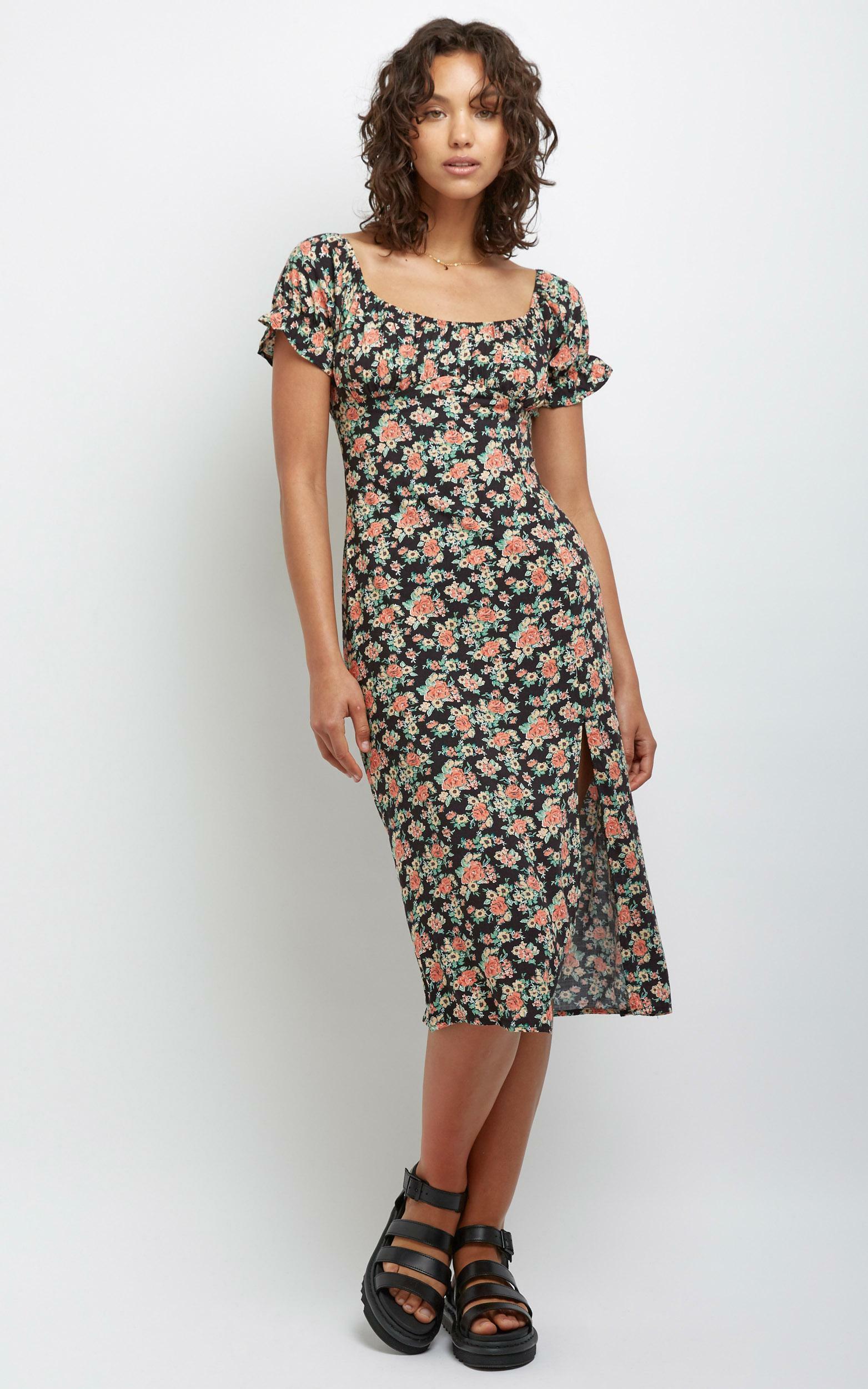 Denise Dress in Black Floral - 12 (L), Black, hi-res image number null
