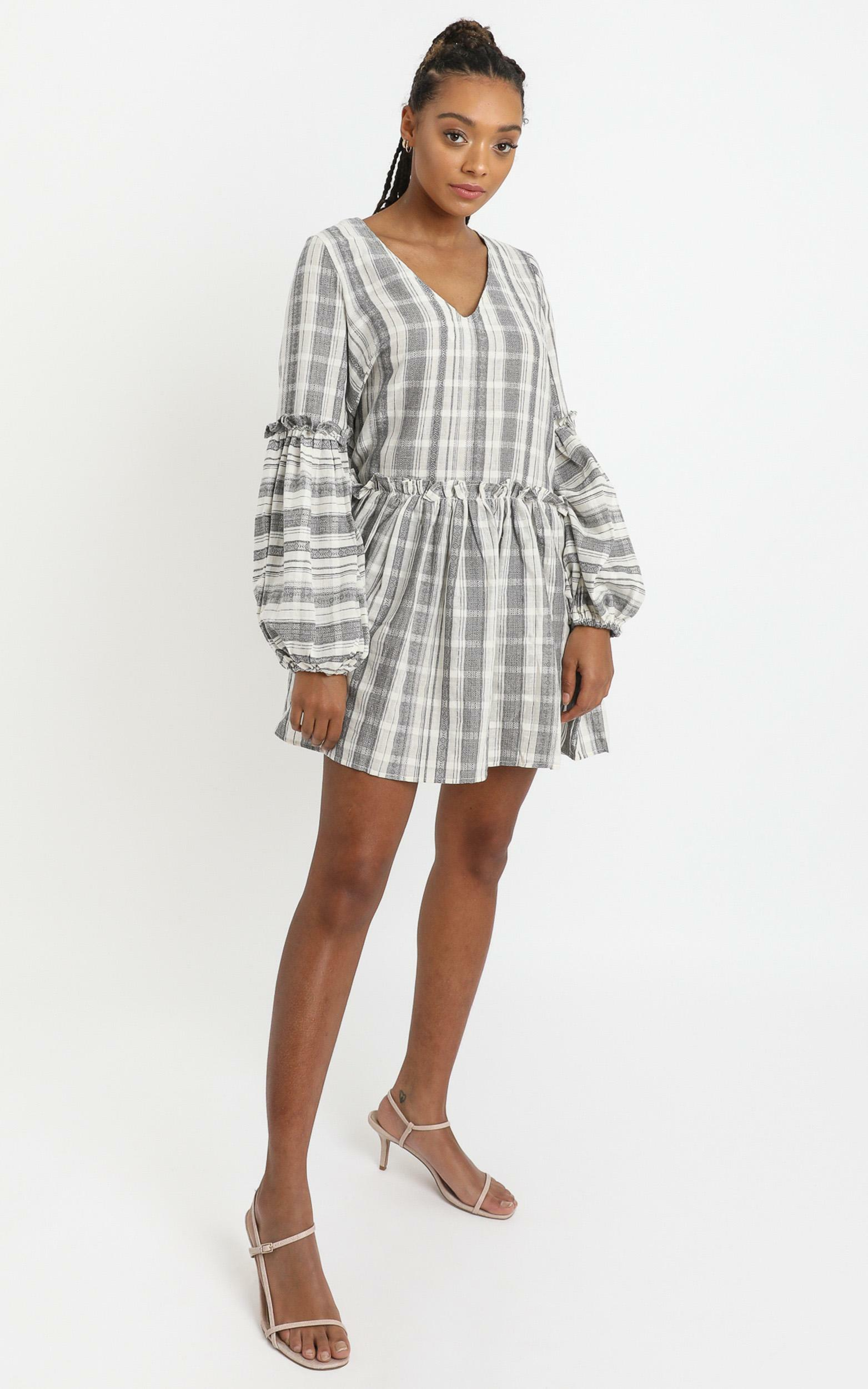 Cordelia Dress in Grey Check - 6 (XS), Grey, hi-res image number null