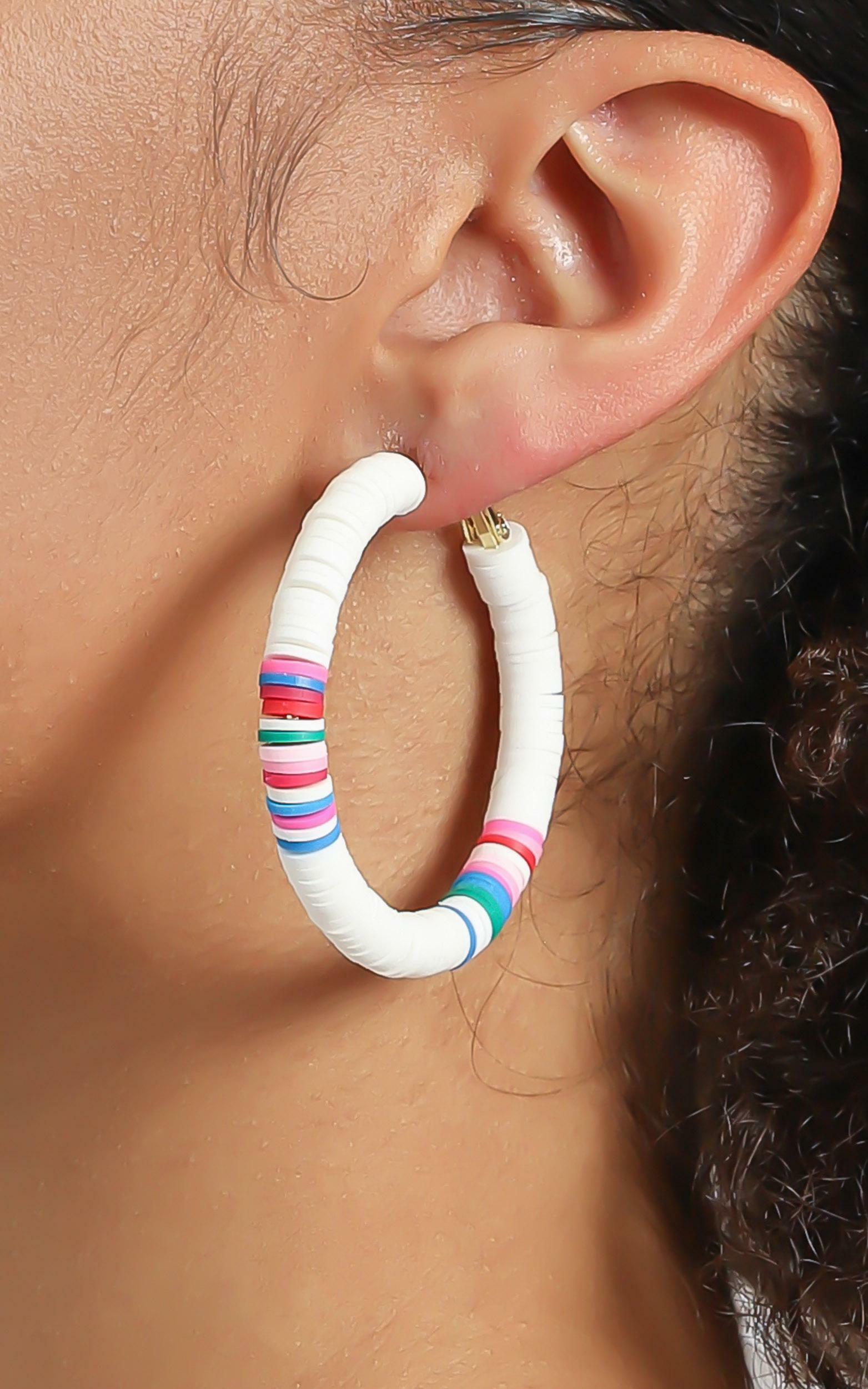 Quinnie Beaded Hoop Earrings in White, WHT1, hi-res image number null