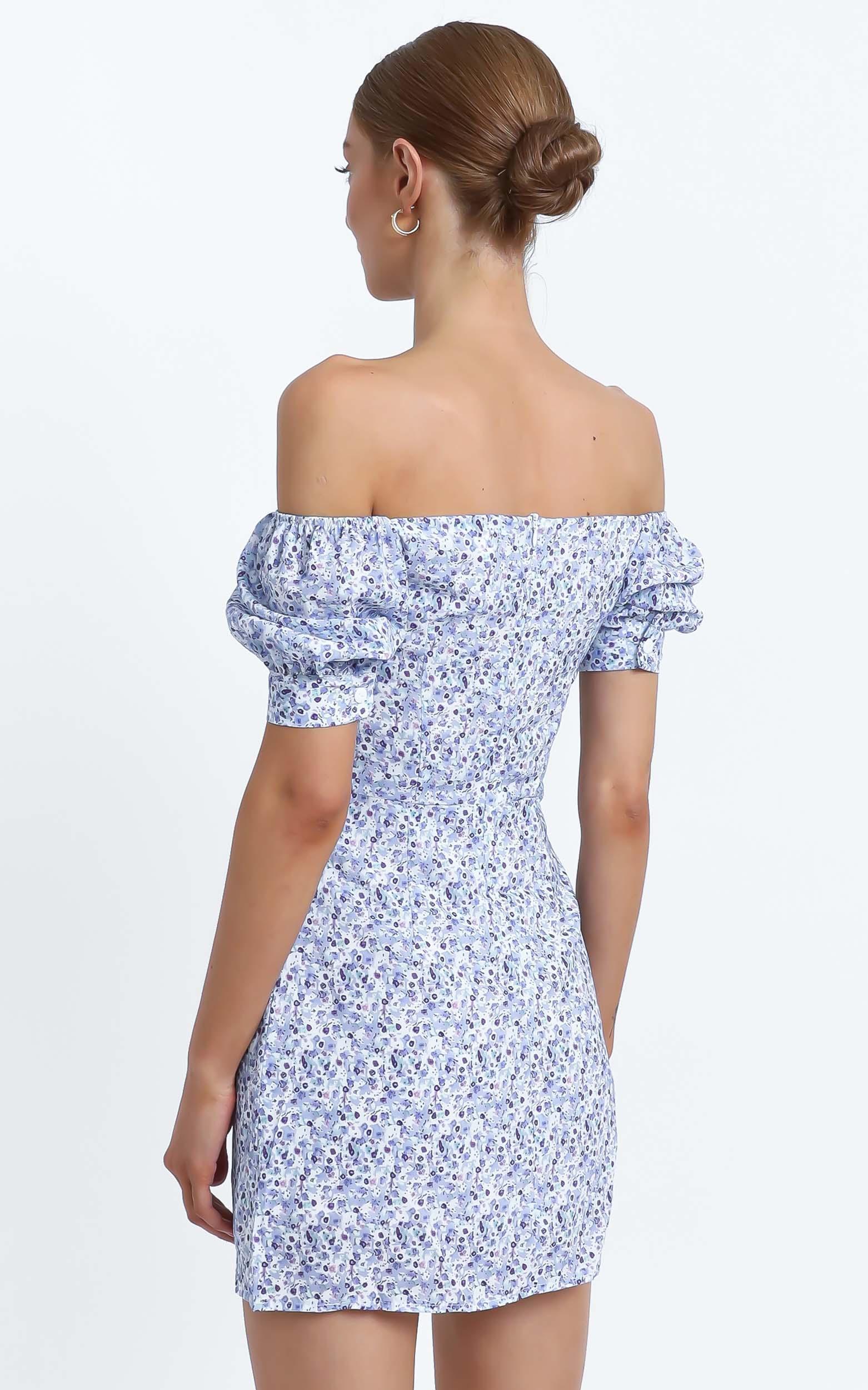 Evans Dress in Blue Floral - L, Blue, hi-res image number null