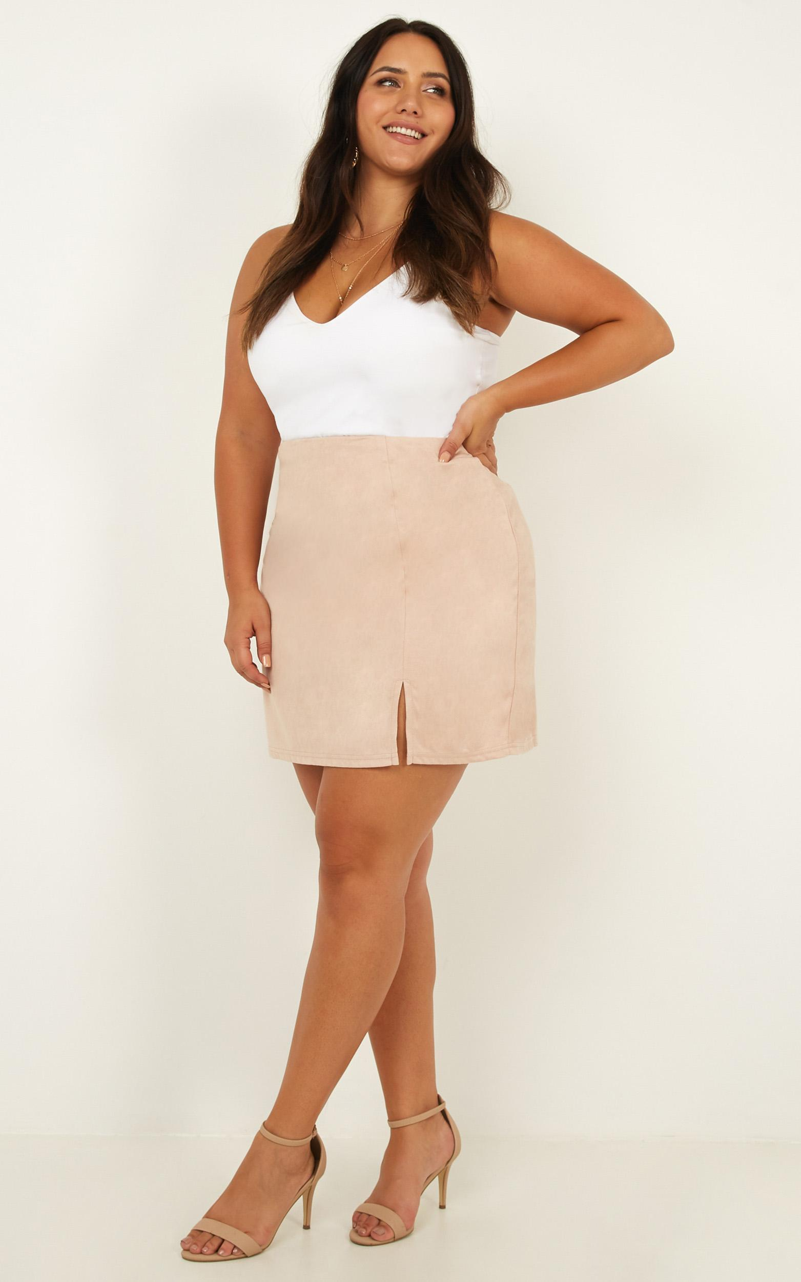 Grand Parade Skirt in blush suedette - 14 (XL), Blush, hi-res image number null
