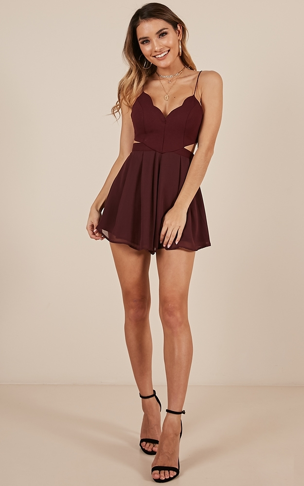 One Step Closer playsuit in wine - 12 (L), Wine, hi-res image number null
