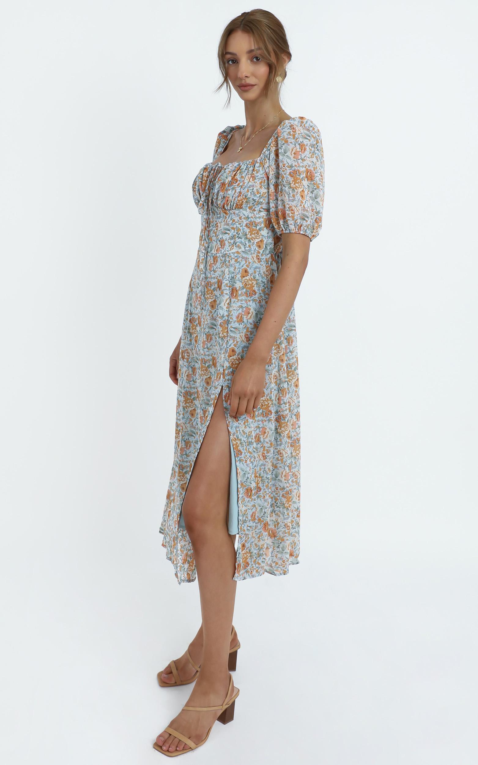 Delora Dress in Blue Floral, Blue, hi-res image number null