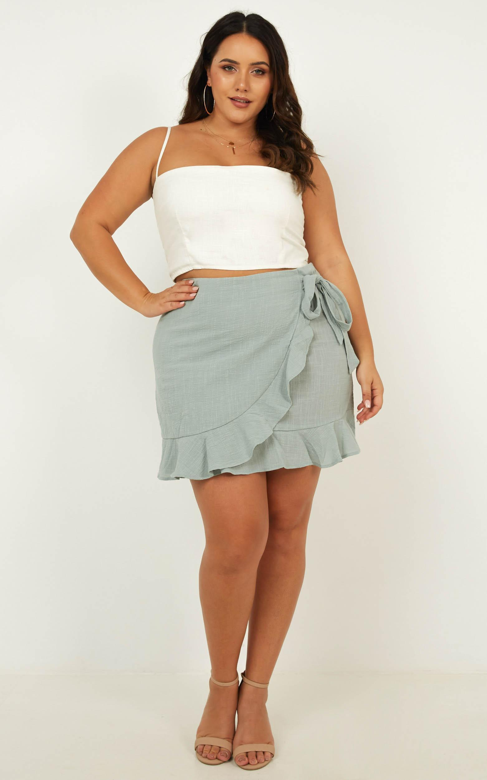 Over And Under skirt in sage linen look - 8 (S), Sage, hi-res image number null