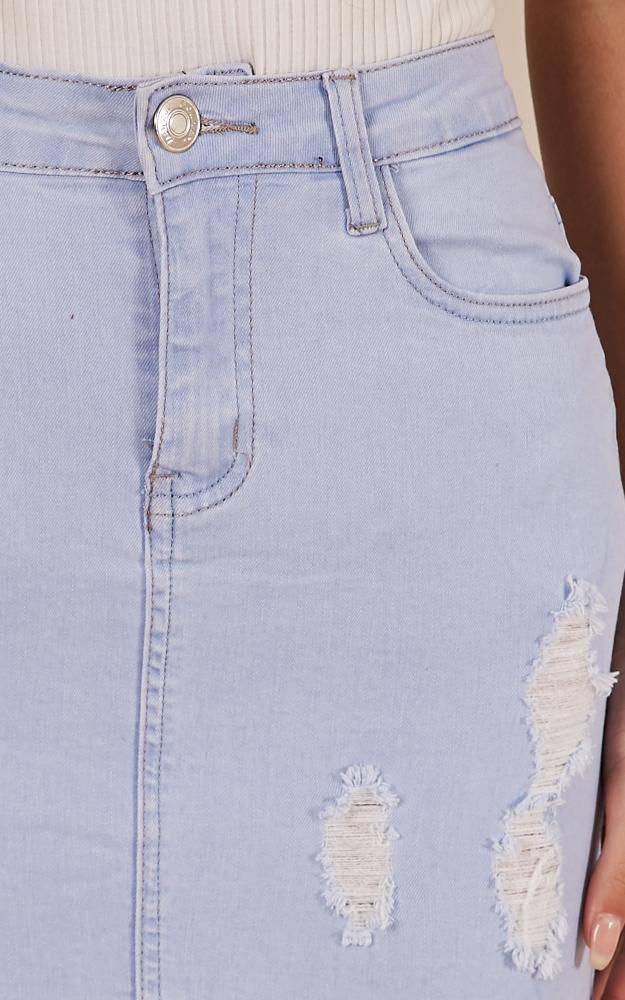 Malibu Sunset denim skirt in light wash - 12 (L), Blue, hi-res image number null