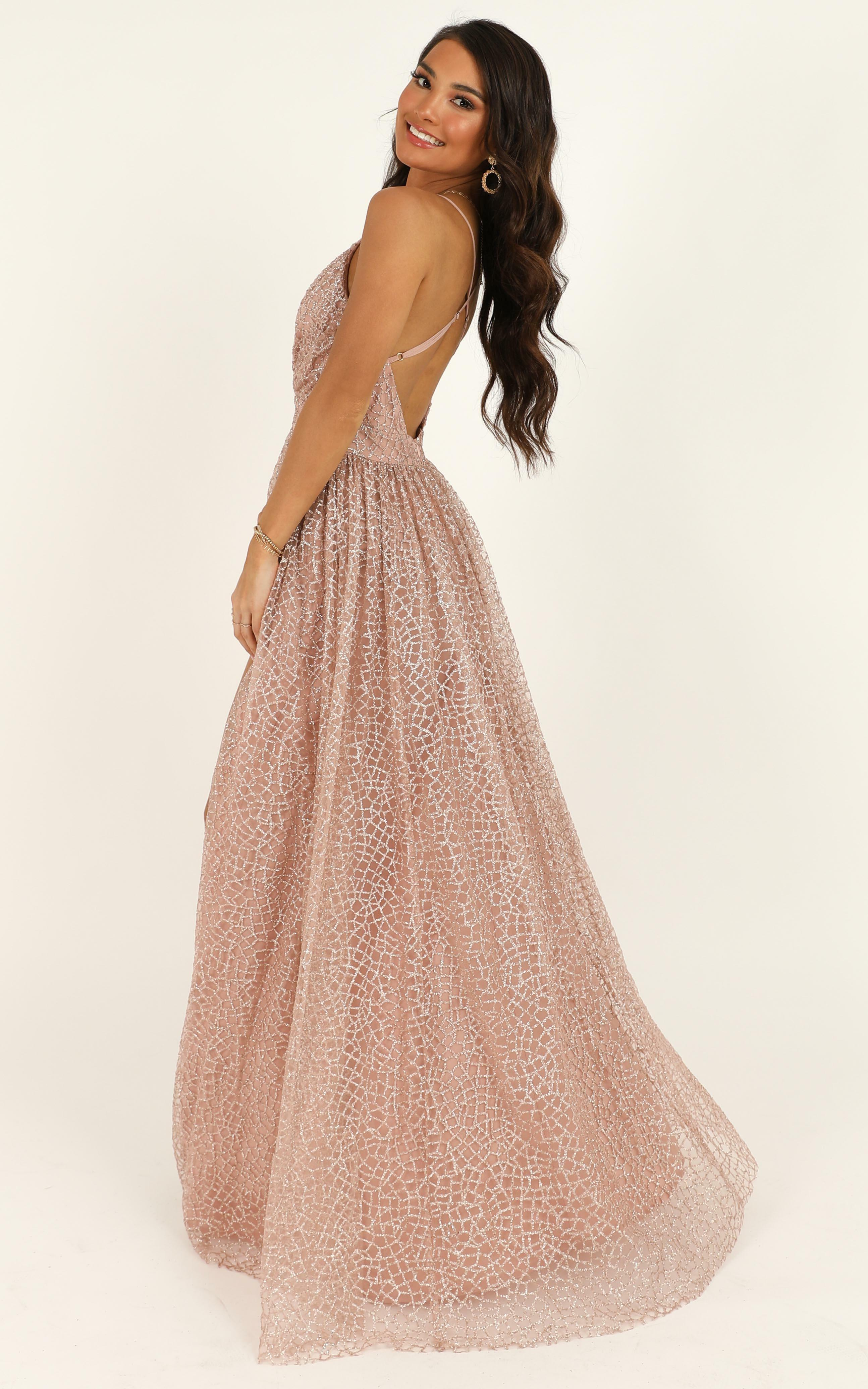 Lady Godiva Dress in rose gold glitter - 14 (XL), Gold, hi-res image number null