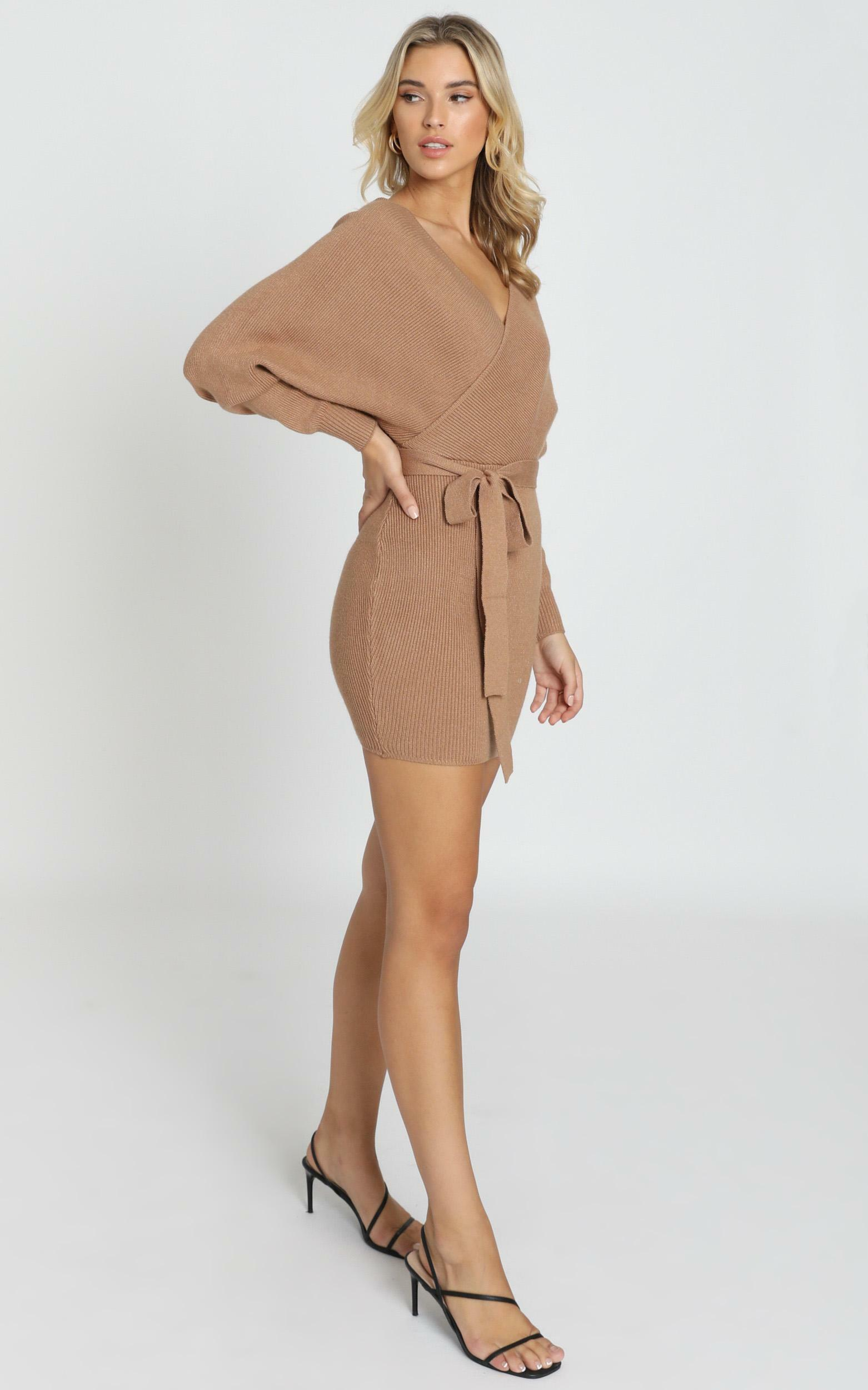 Dont Fall Down knit dress in camel - 6 (XS), Camel, hi-res image number null