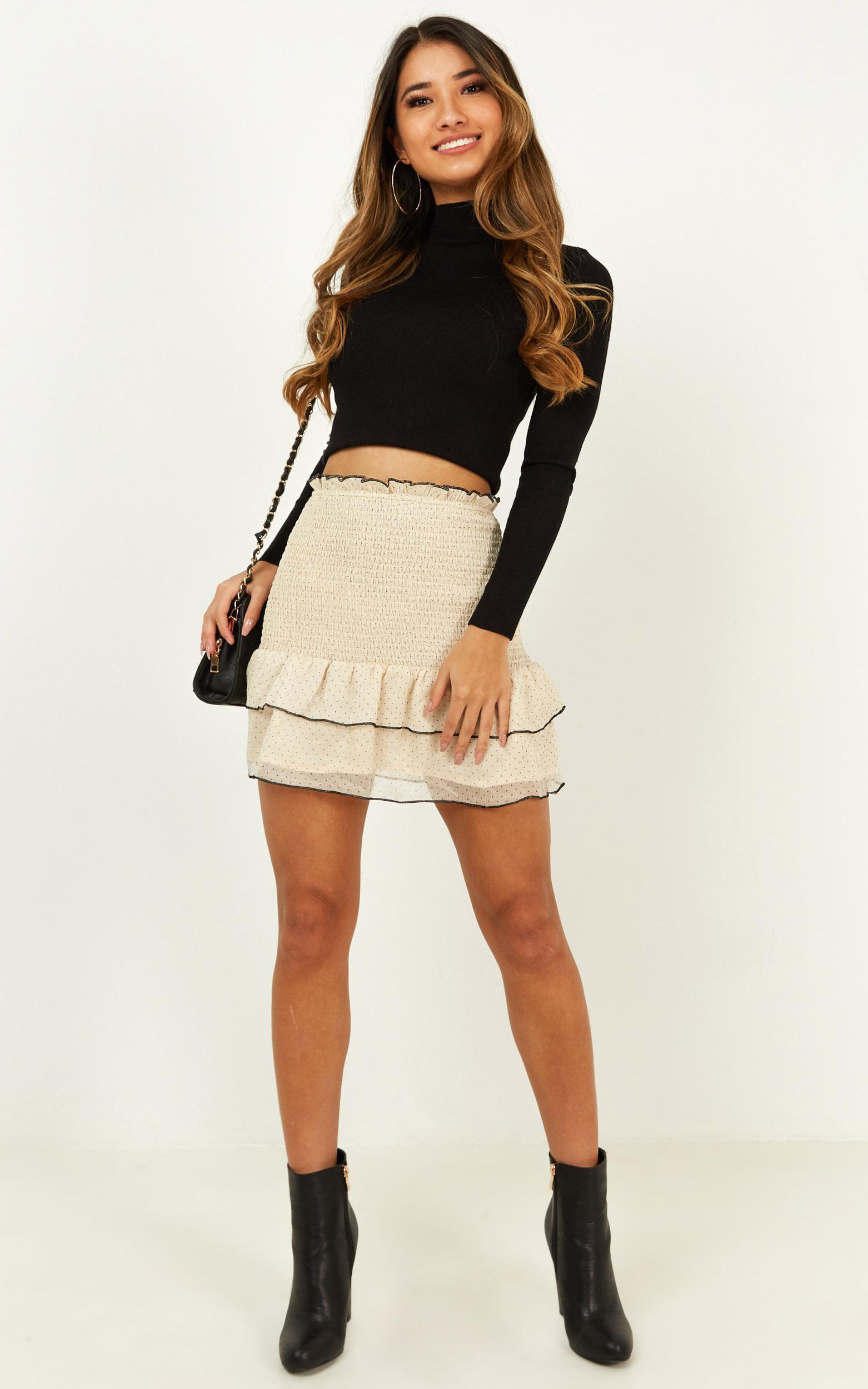 Untold Secret skirt in cream spot - 12 (L), Cream, hi-res image number null