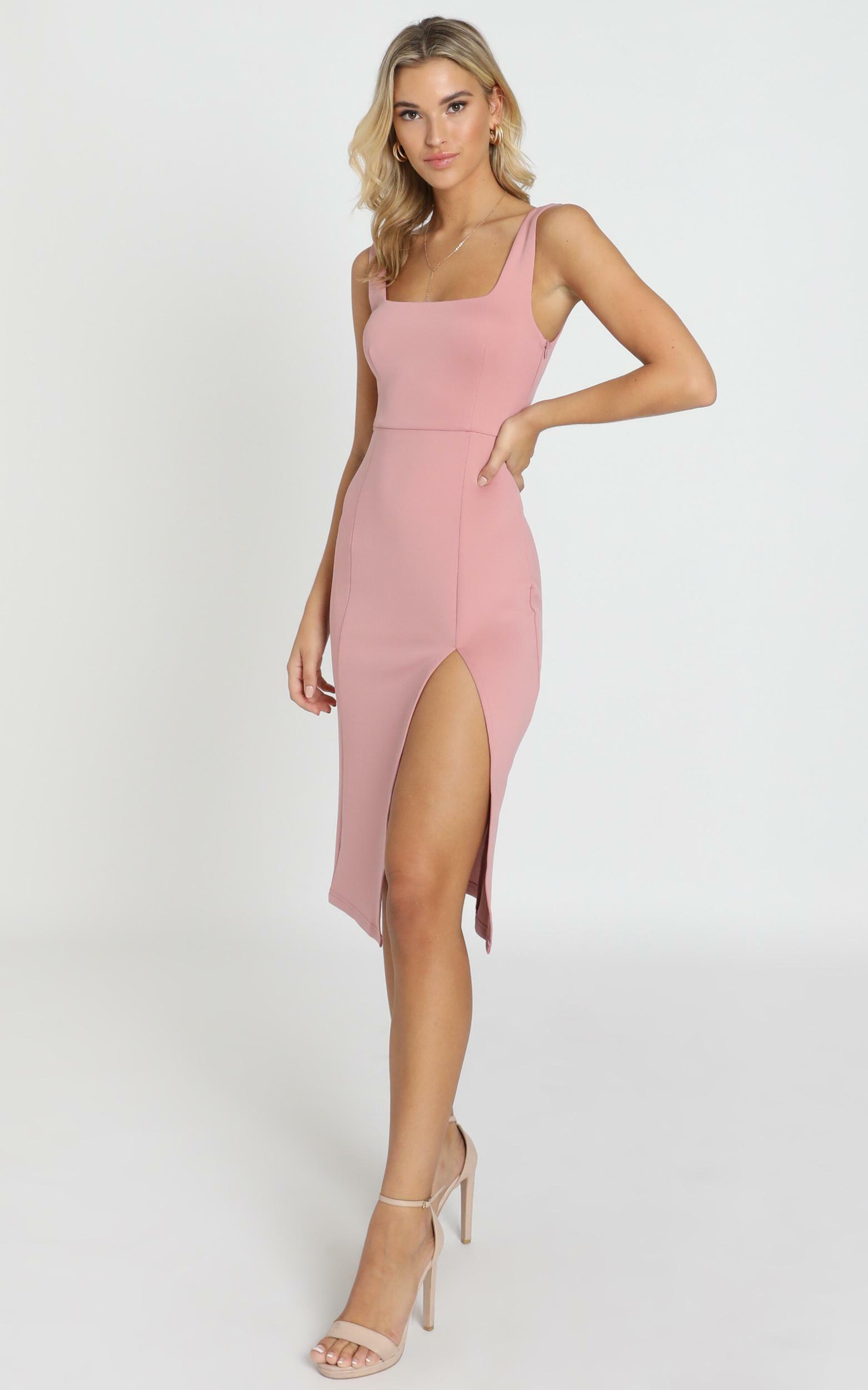 Mini Love Square Neck Split Midi Dress in Rose - 14, PNK3, hi-res image number null