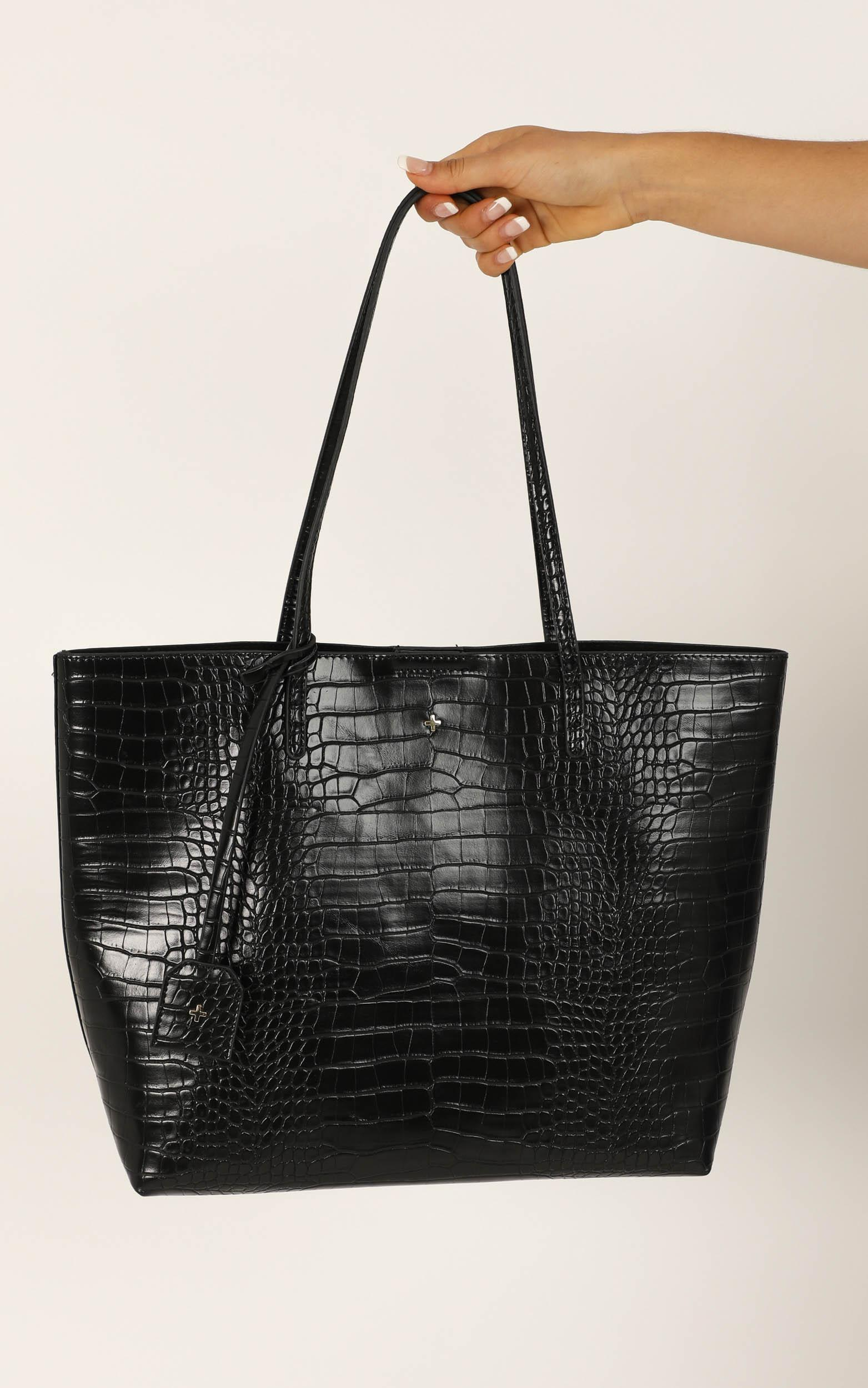 Peta and Jain - Saint Tote Bag In Black Croc, Black, hi-res image number null
