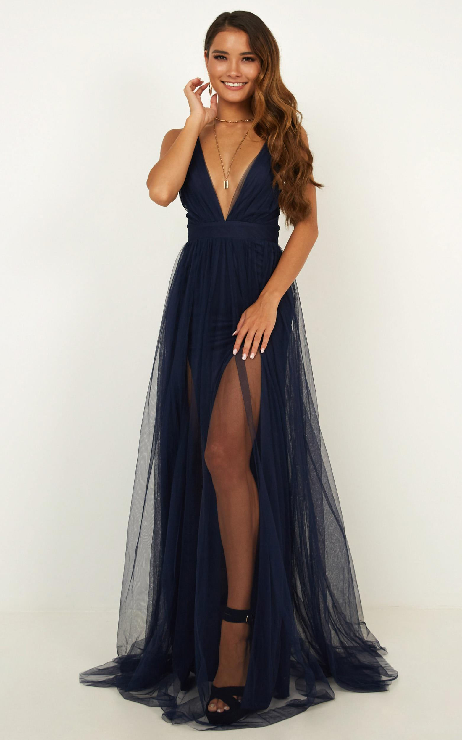 Celebrate tonight maxi dress in navy - 12 (L), Navy, hi-res image number null
