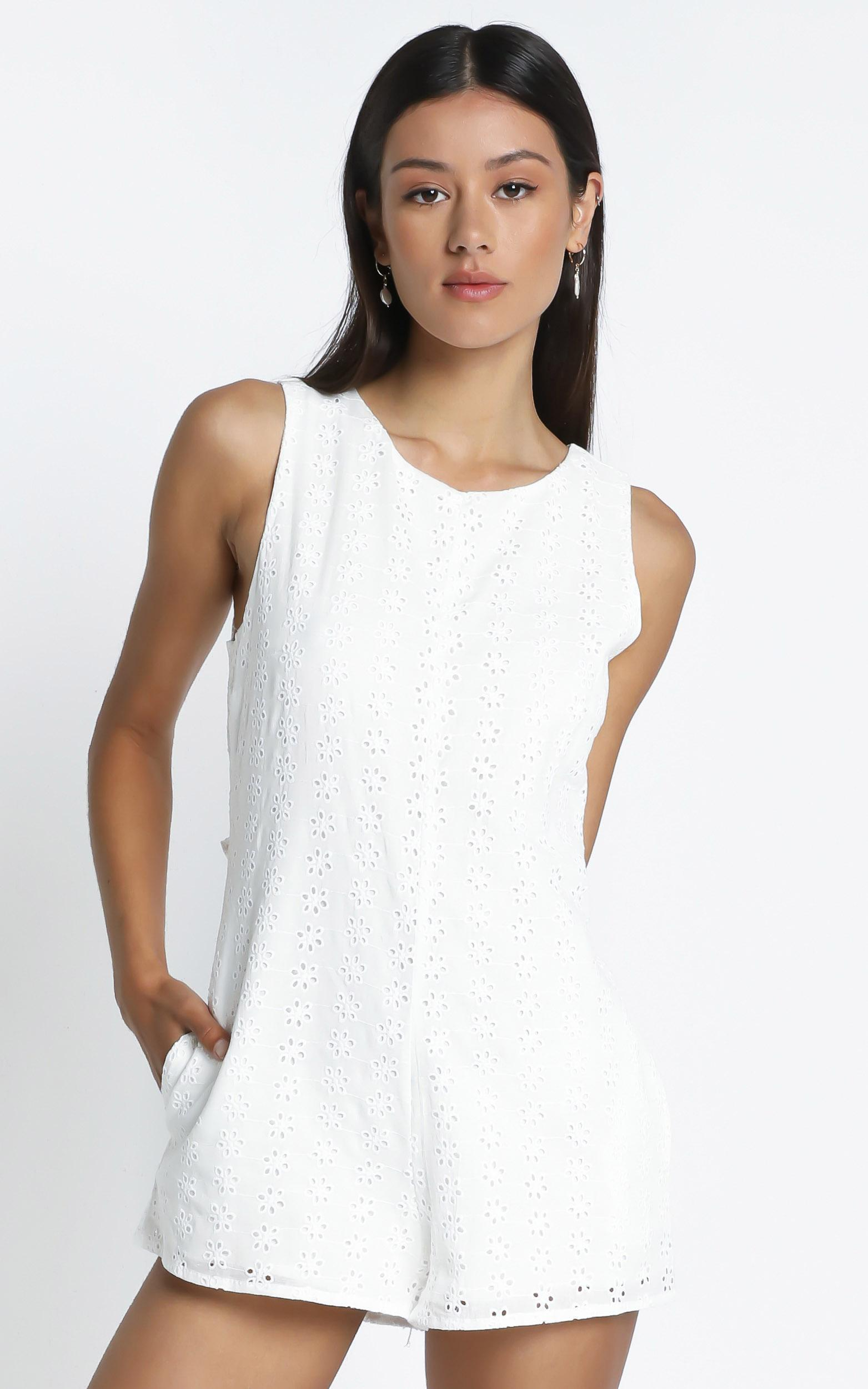 Mael Embroidery Playsuit in White - 14 (XL), White, hi-res image number null