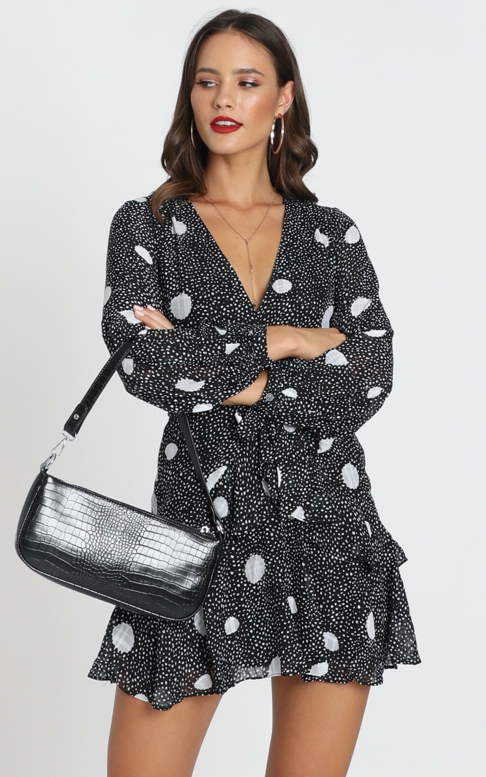 Aurelia V-Neck Mini Dress in black polka - 12 (L), Black, hi-res image number null