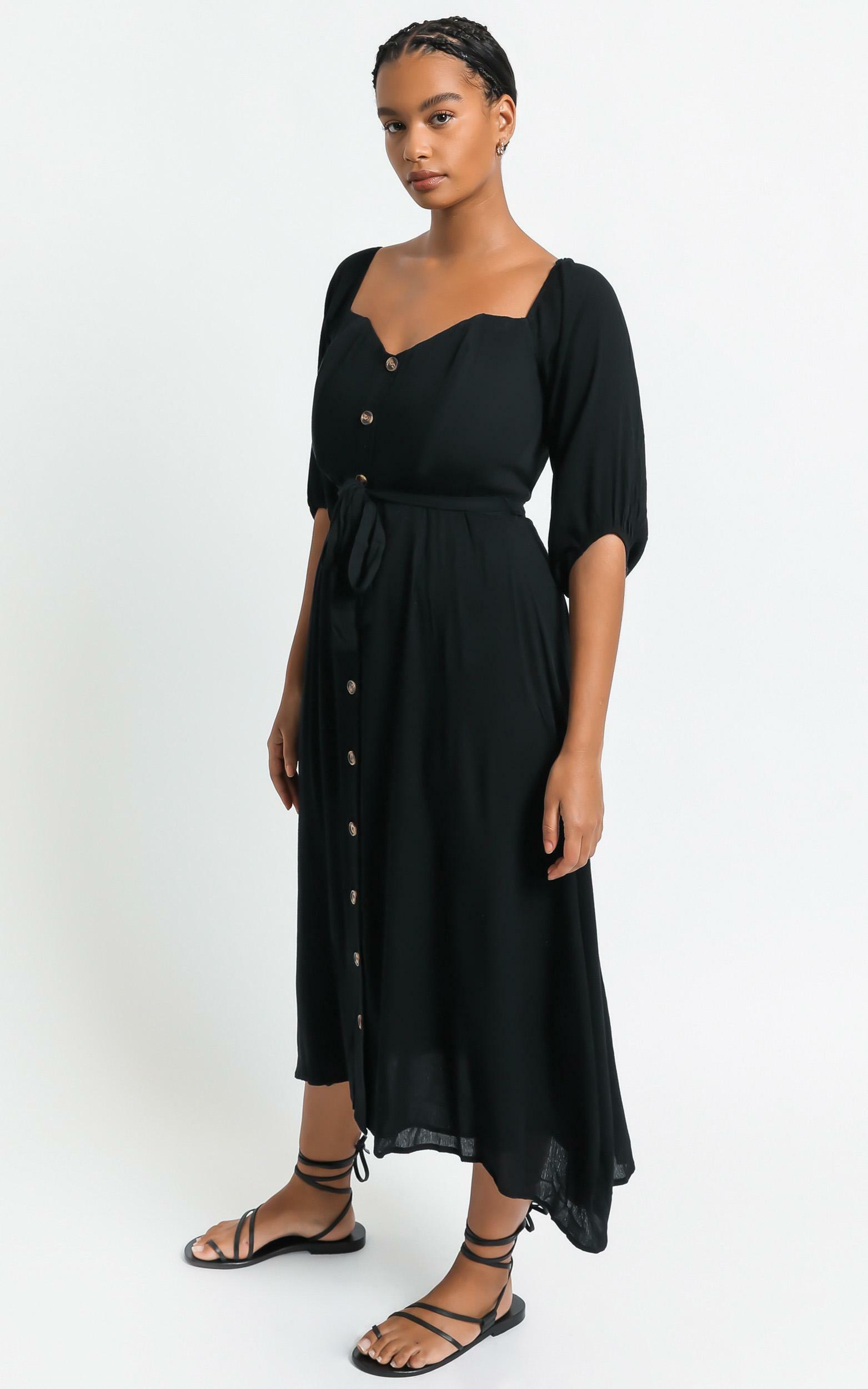 Sorrento Dreaming Dress in Black Linen Look - 4 (XXS), Black, hi-res image number null