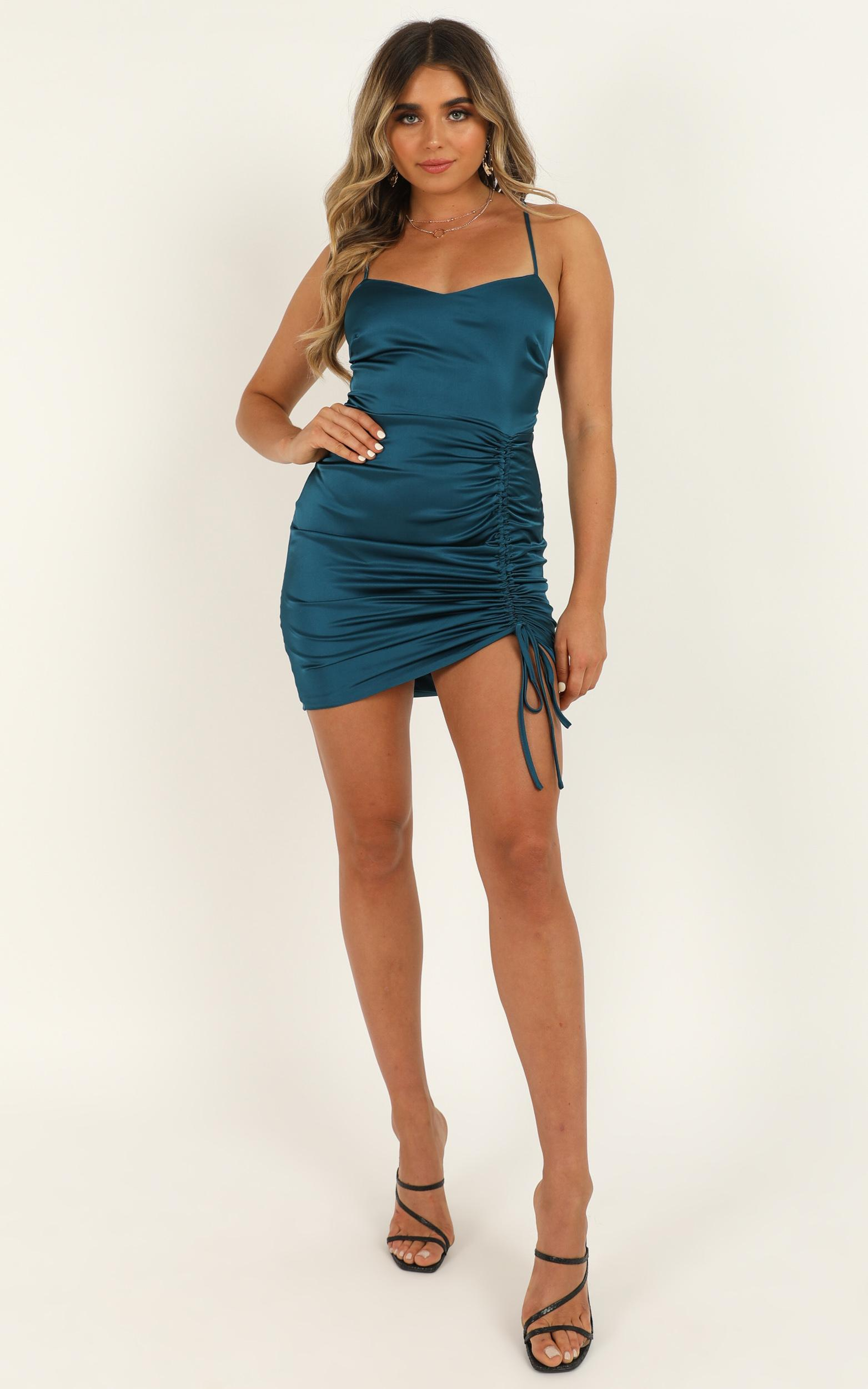 Look Like This Dress in teal satin - 20 (XXXXL), Green, hi-res image number null