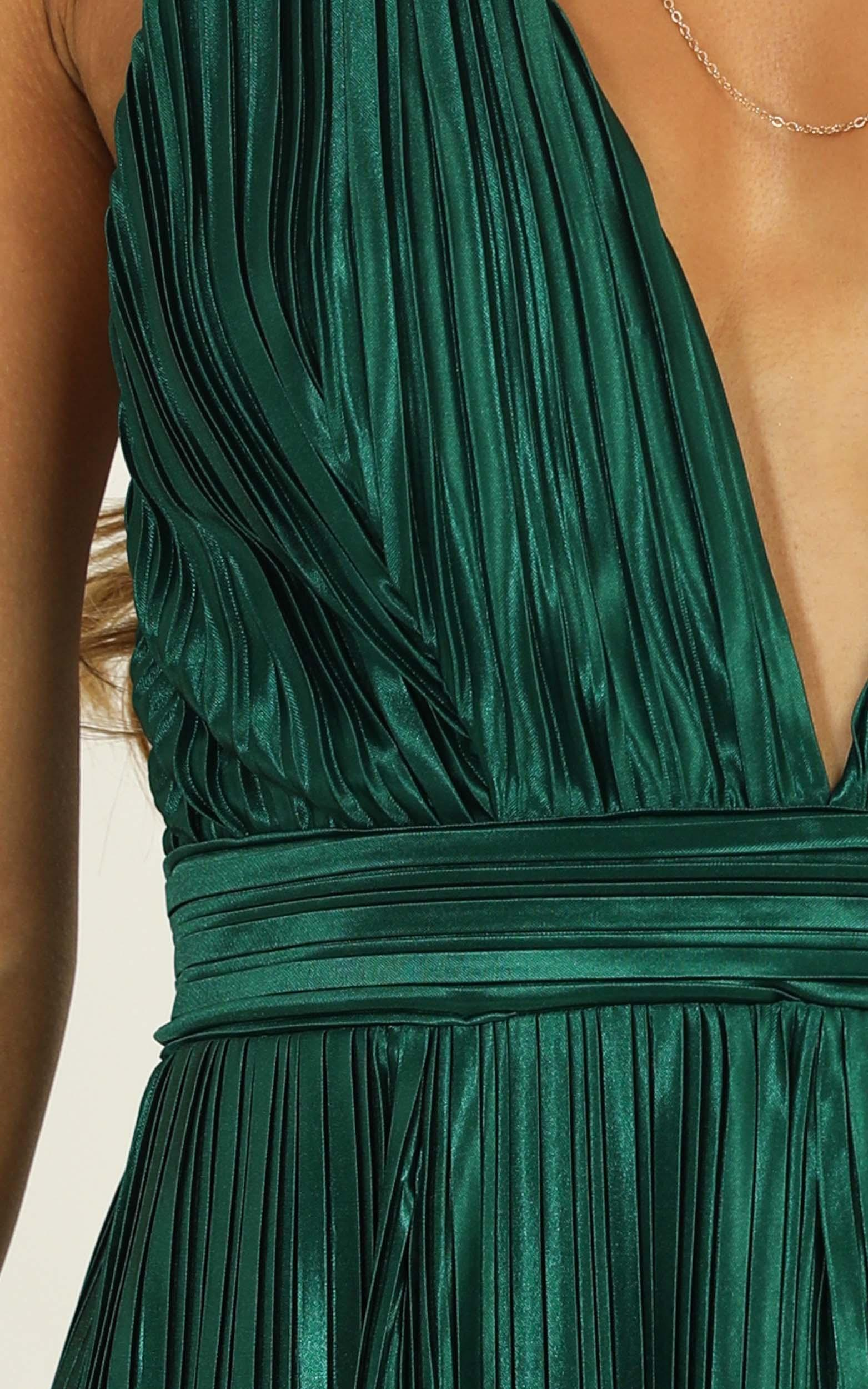 Dance With You Pleated Maxi Dress in emerald green - 12 (L), Green, hi-res image number null