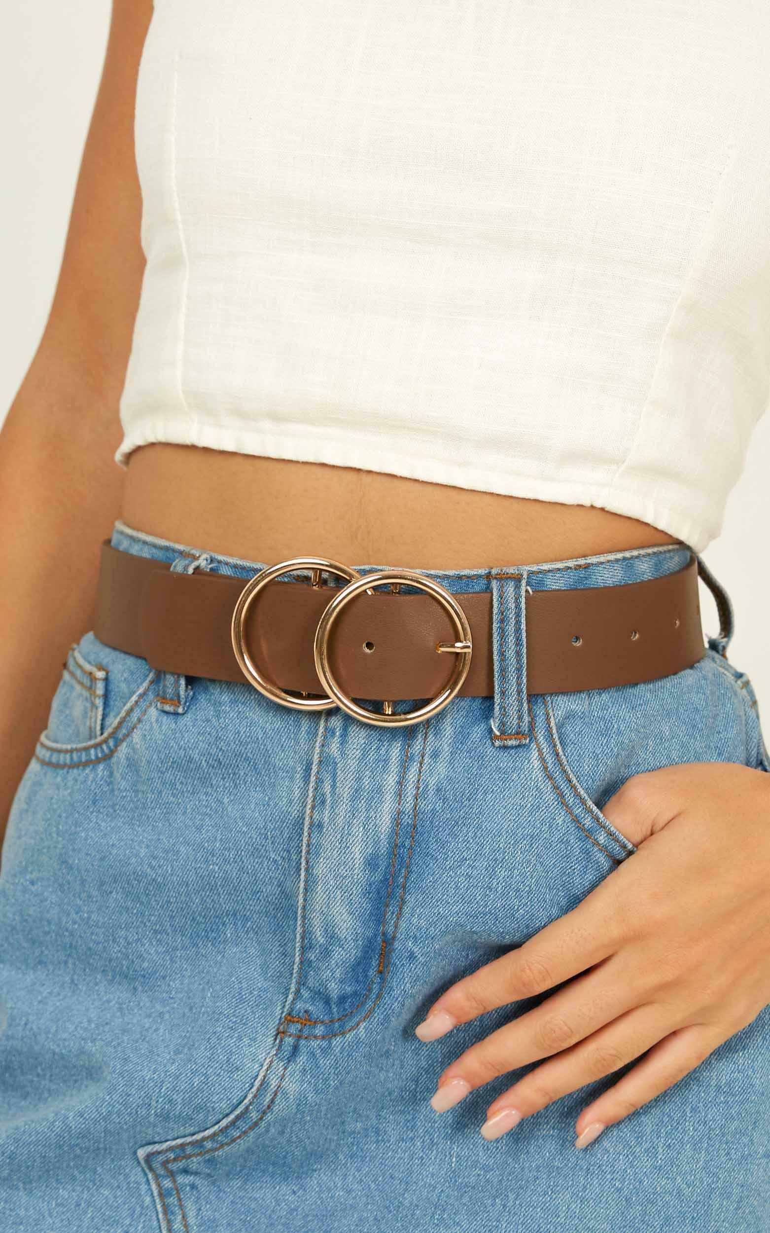 Midnight Charm belt in chocolate and gold - S/M, Brown, hi-res image number null
