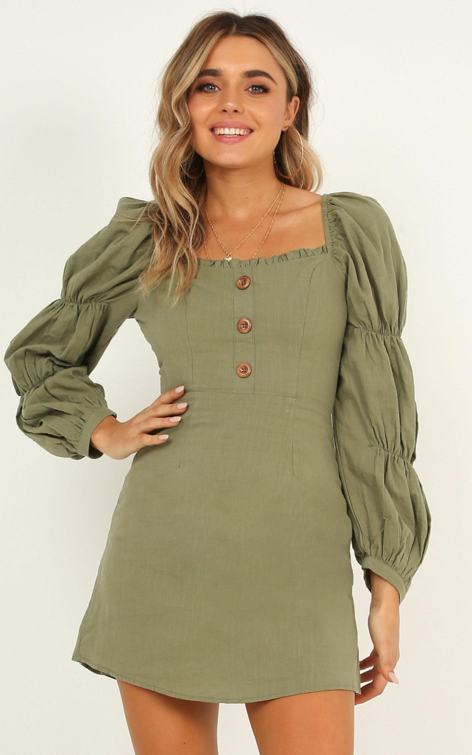 European Escape dress in khaki linen - 12 (L), Khaki, hi-res image number null