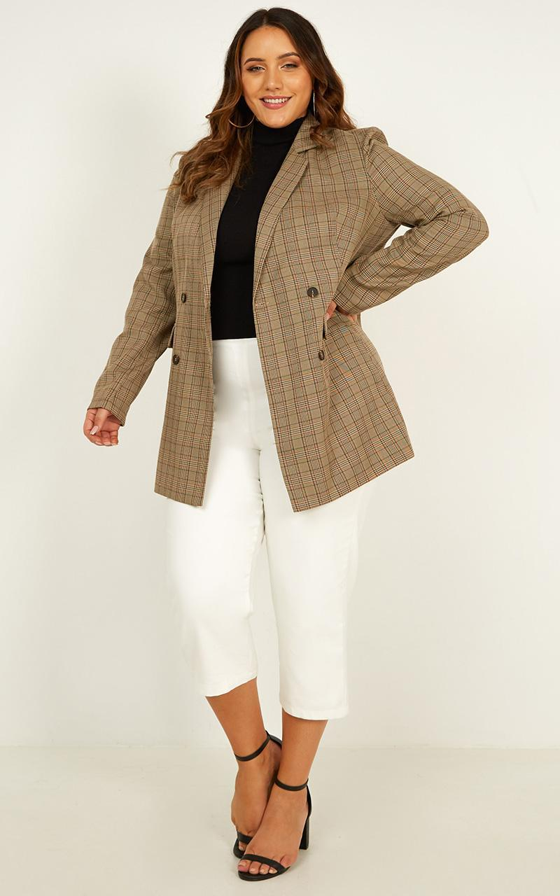 Sort It Out Blazer in brown check - 20 (XXXXL), Brown, hi-res image number null