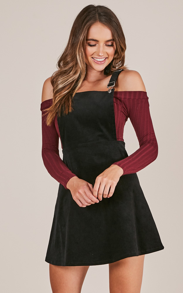 Thats What I Like pinafore dress in black - 4 (XXS), Black, hi-res image number null