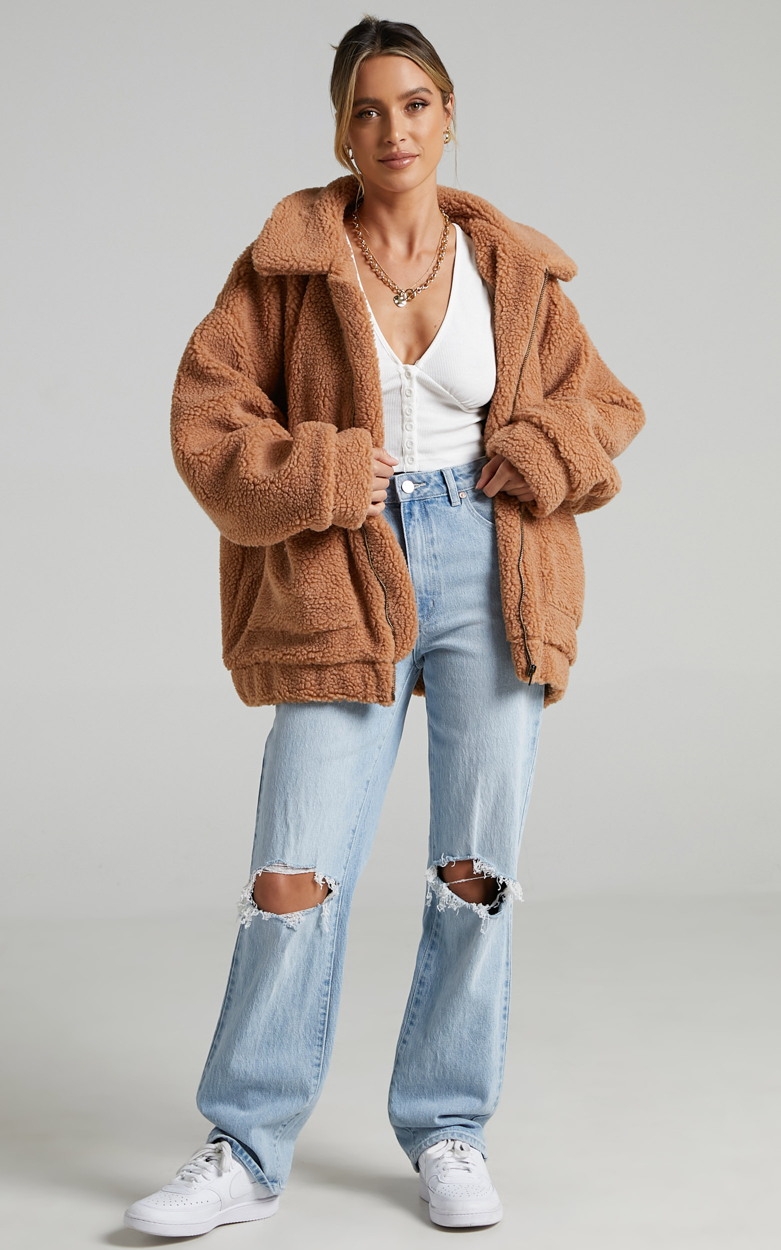 Point Blank Jacket in Mocha Teddy - OneSize, BRN1, hi-res image number null