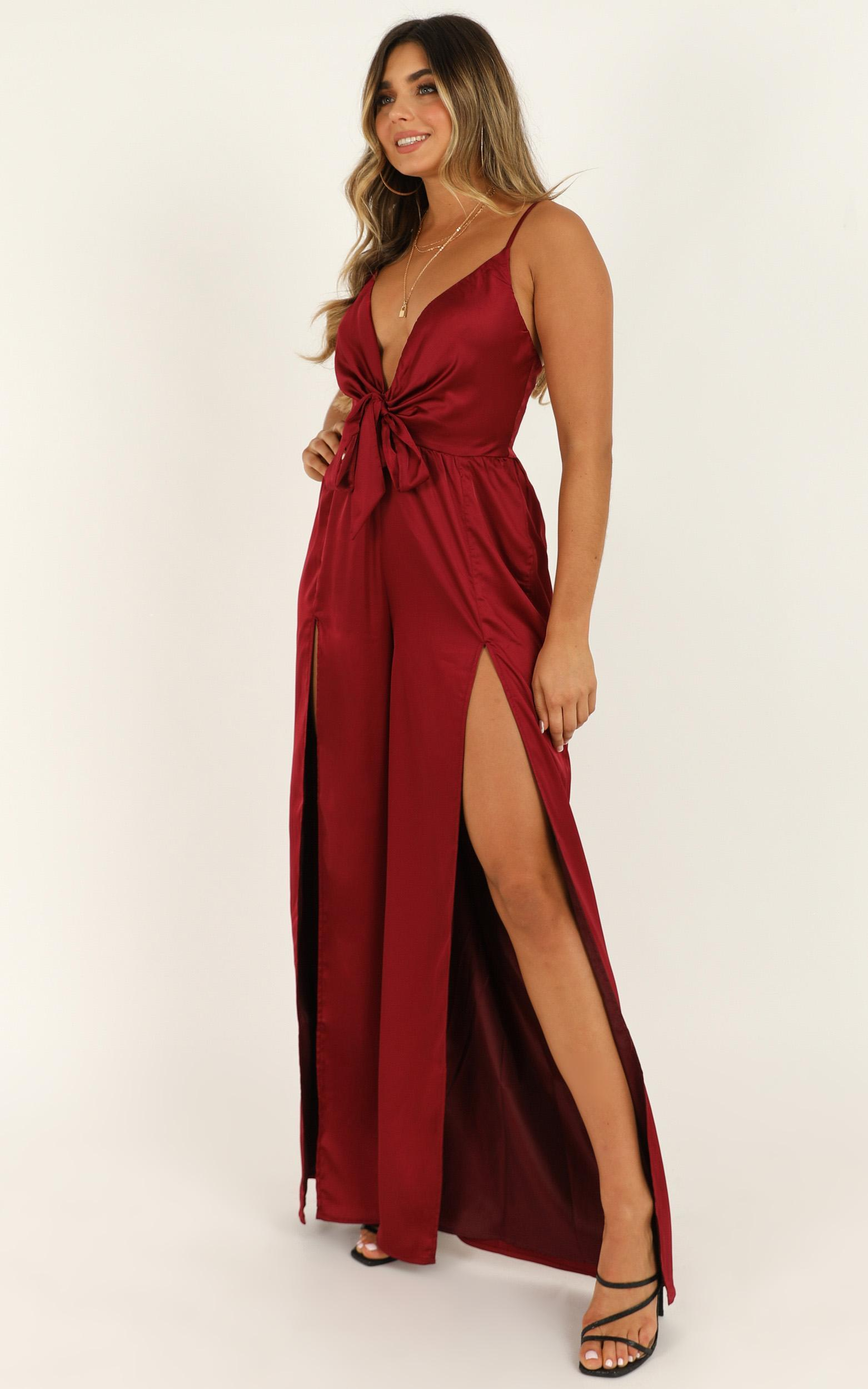 I Be On The Movie Screens Jumpsuit in wine satin - 20 (XXXXL), Wine, hi-res image number null