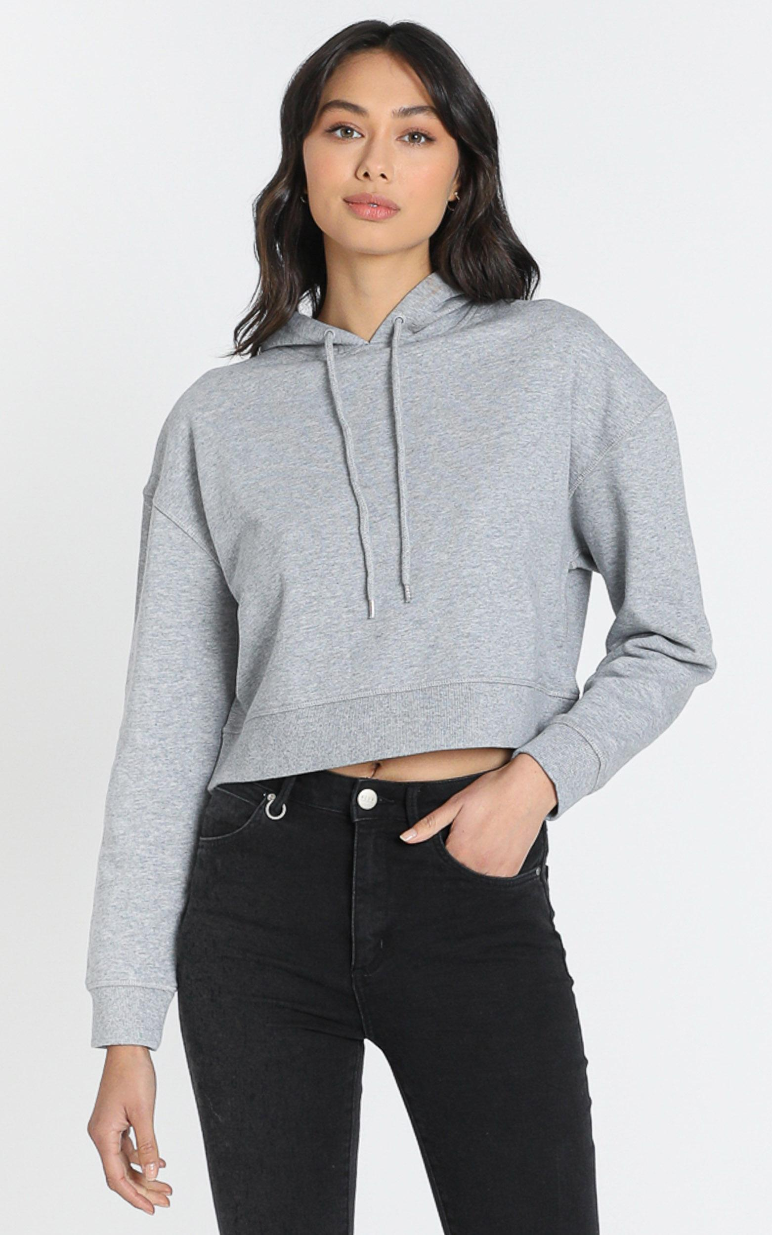 AS Colour - Crop Hood in Grey Marle - XS, Grey, hi-res image number null