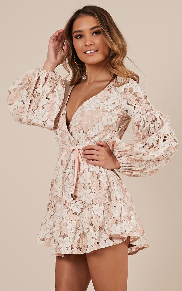 Autumn Leaves dress in beige lace - 6 (XS), Beige, hi-res image number null