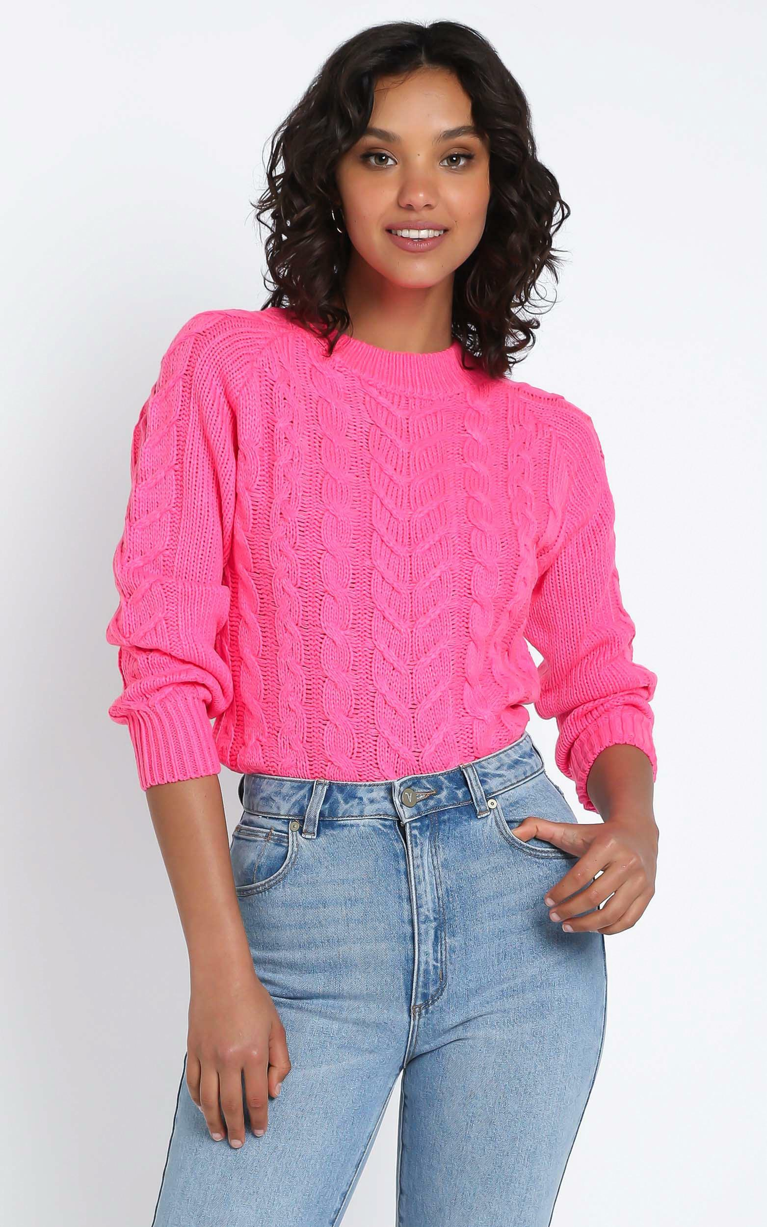 Duffy Knit Jumper in Hot Pink - 12 (L), PNK11, hi-res image number null