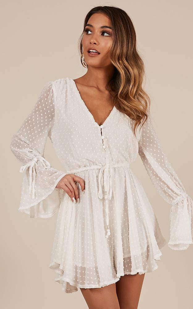 In Your Heart Playsuit In White - 14 (XL), White, hi-res image number null