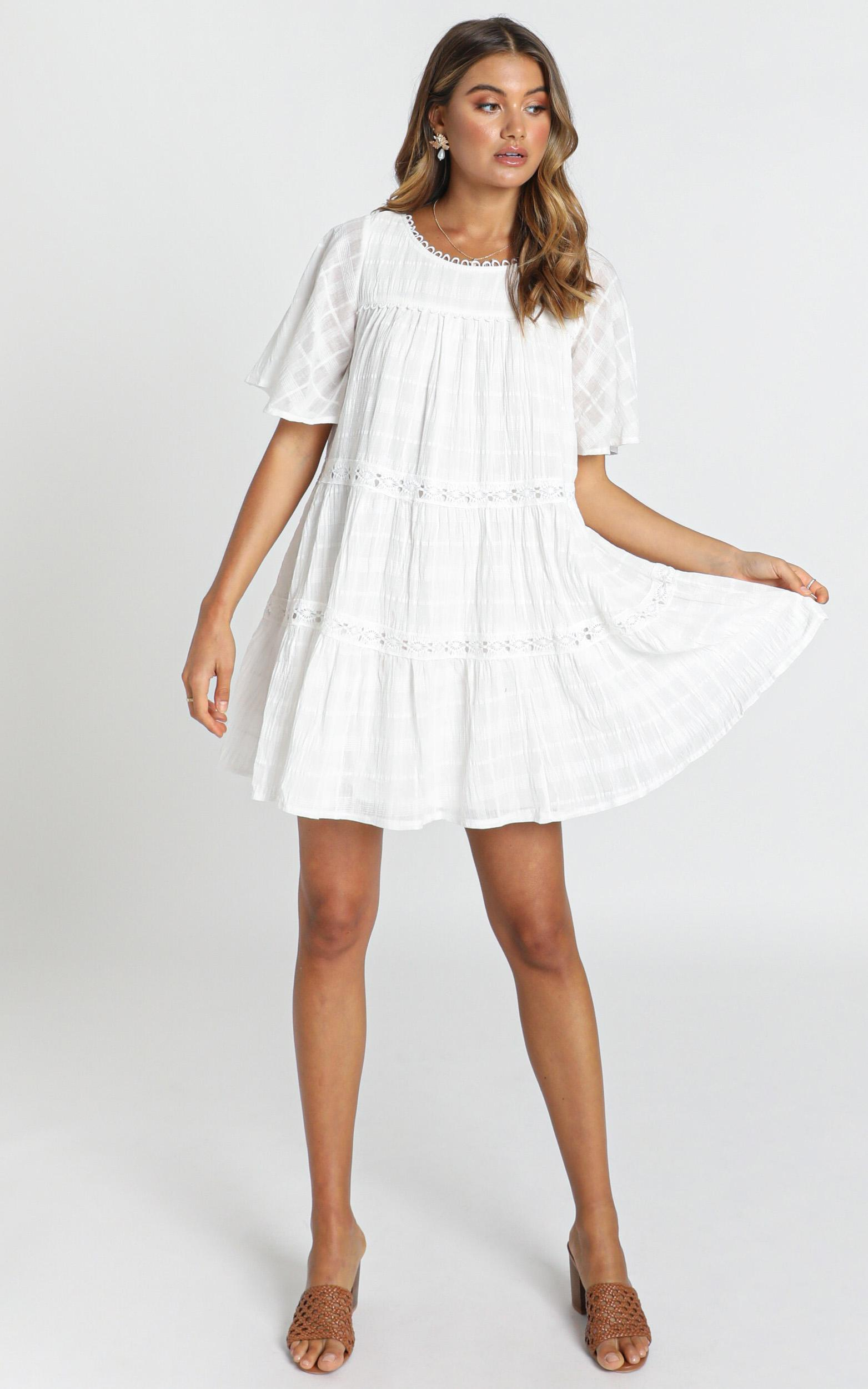 Oceana Tiered Smock Dress in white - 14 (XL), White, hi-res image number null