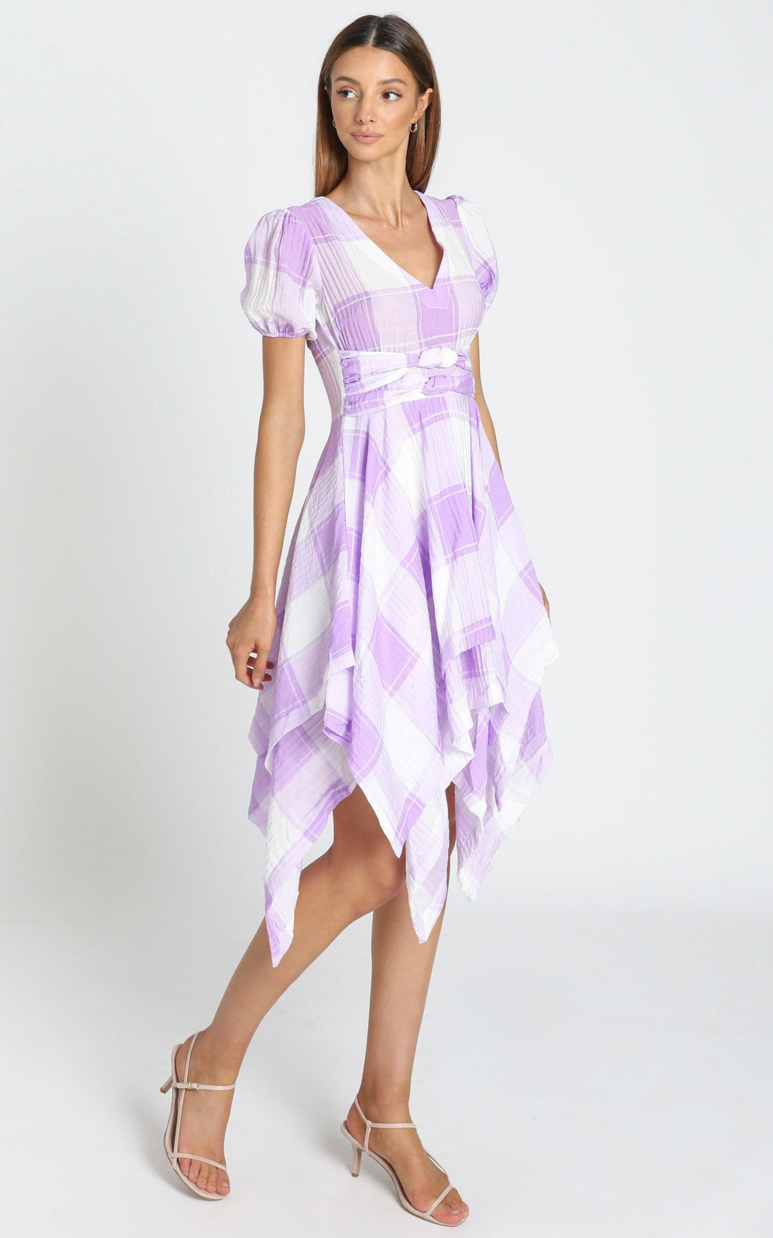 Ola Dress in lavender check - 8 (S), Purple, hi-res image number null