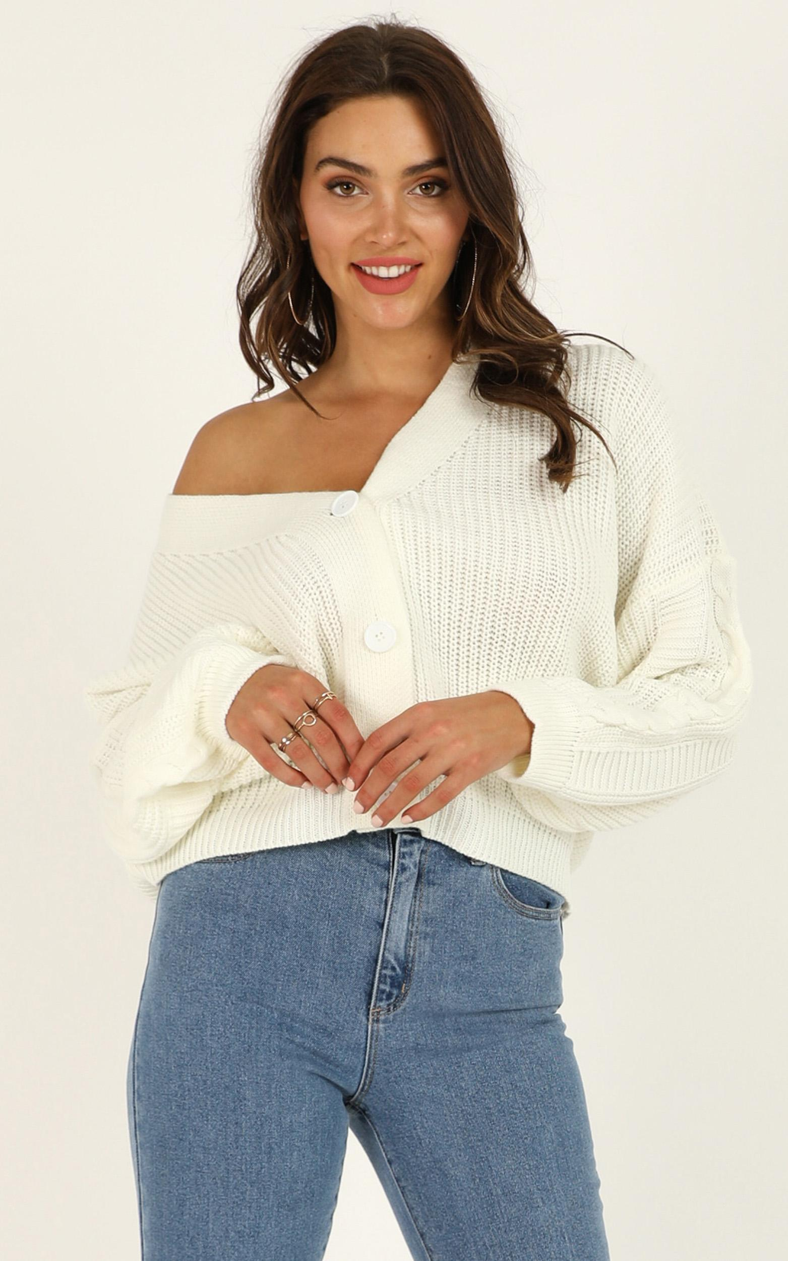 Minding My Manners Cardigan in cream - 20 (XXXXL), Cream, hi-res image number null