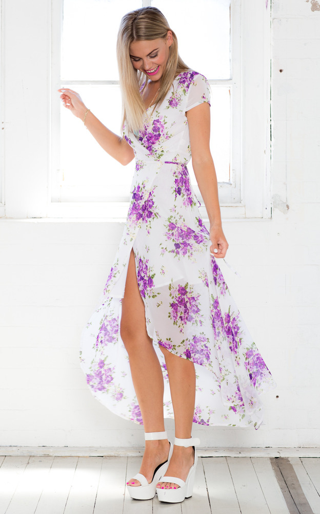 Wrap And Cross Maxi Dress in Purple Floral-6(XS), Purple, hi-res image number null