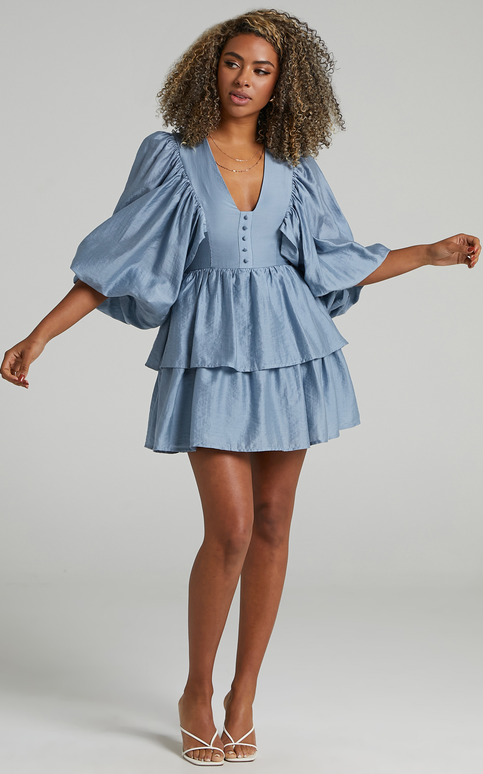 Constance Wide Sleeve Layered Mini Dress in Blue - 06, BLU2, hi-res image number null