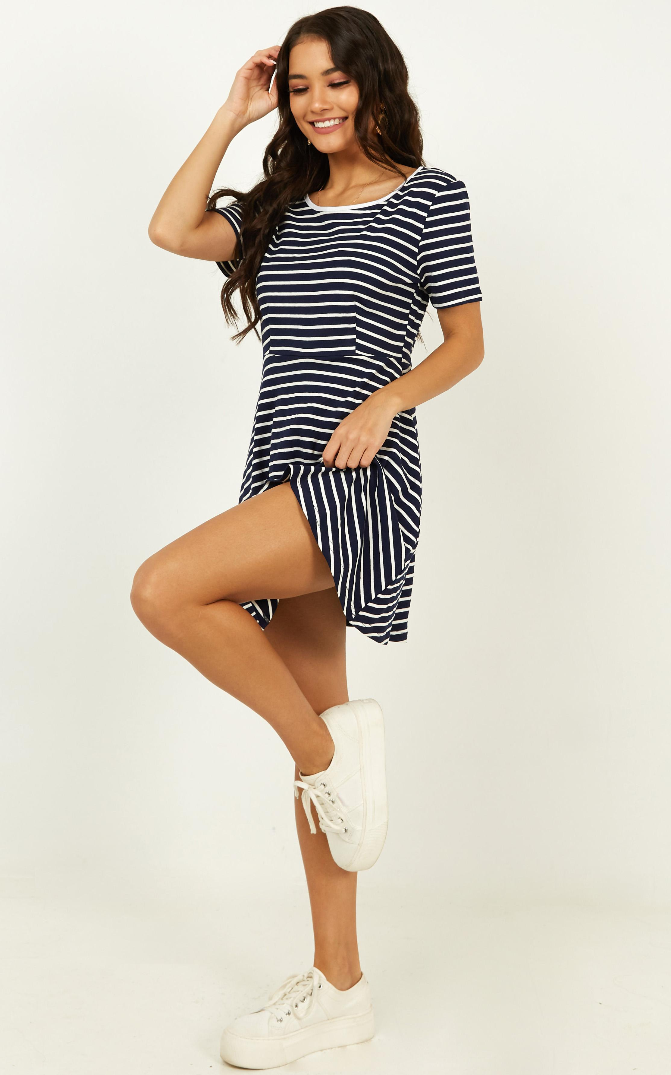 Real Time Fun Dress in navy stripe - 20 (XXXXL), Navy, hi-res image number null