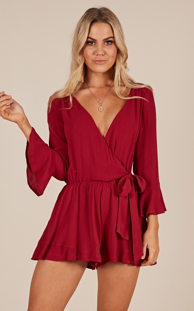 Sunday Breeze Playsuit in wine - 20 (XXXXL), Wine, hi-res image number null