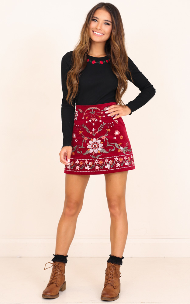 Im Worth It skirt in wine embroidery - 6 (XS), Wine, hi-res image number null
