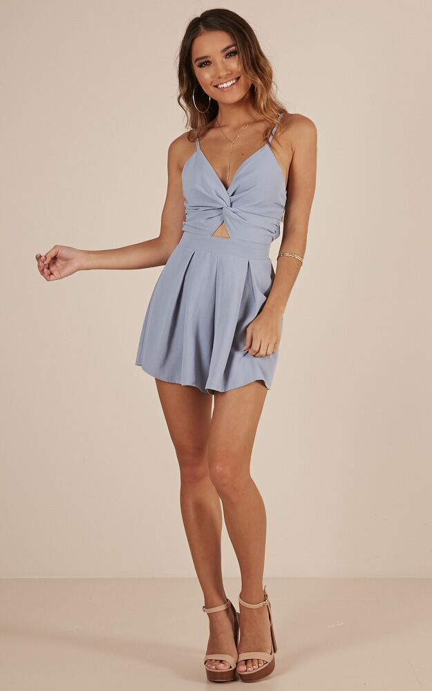 Ask About Me playsuit in blue - 6 (XS), Blue, hi-res image number null